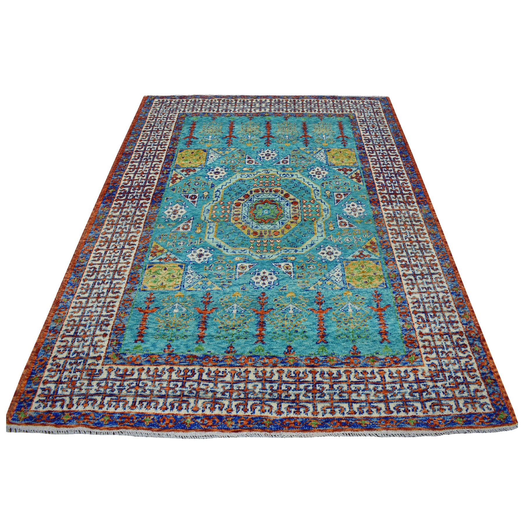 "6'x7'10"" Green Mamluk Design Colorful Afghan Baluch Hand Knotted Pure Wool Oriental Rug"
