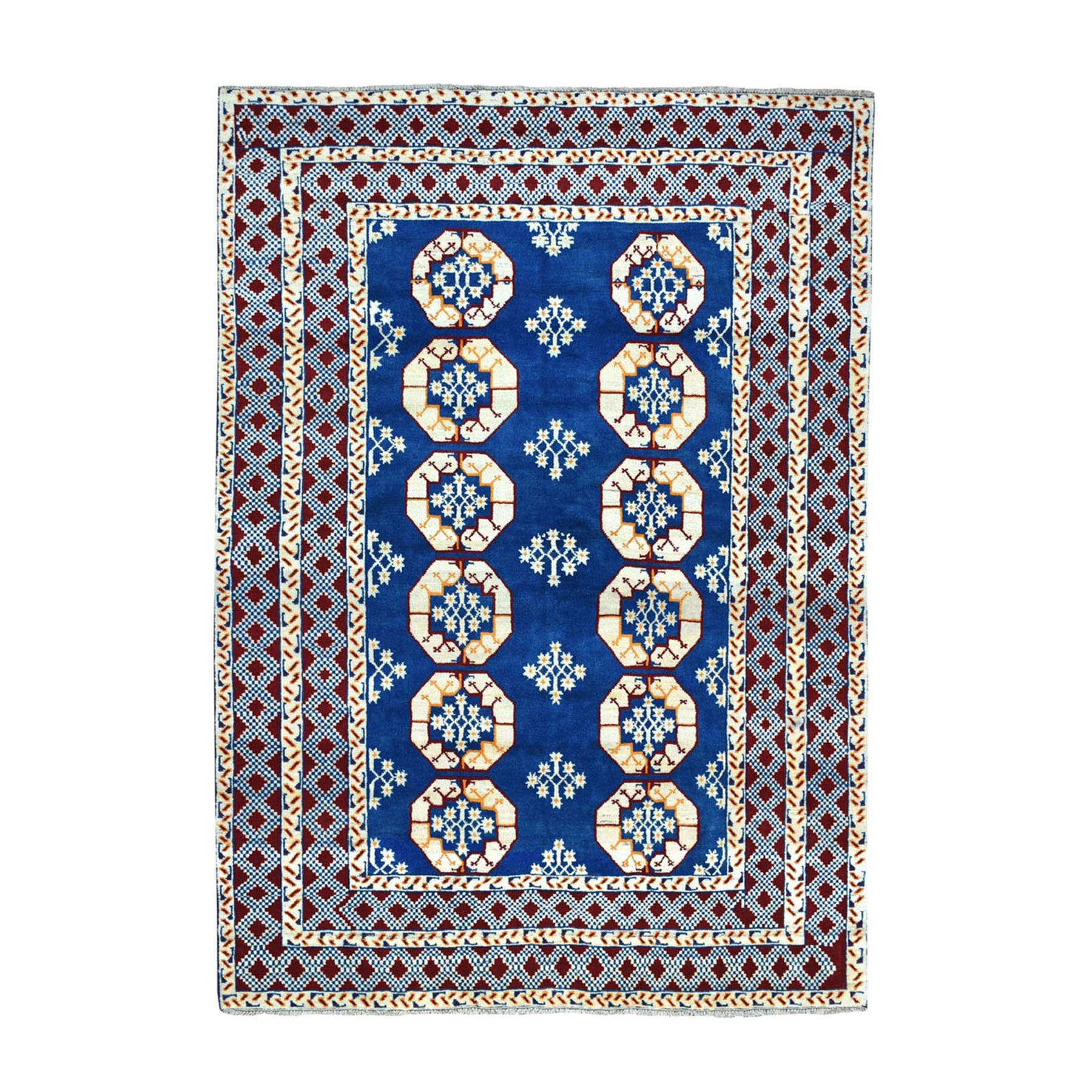 "6'7""X9'4"" Blue Elephant Feet Design Colorful Afghan Baluch Hand Knotted Pure Wool Oriental Rug moaeccd6"