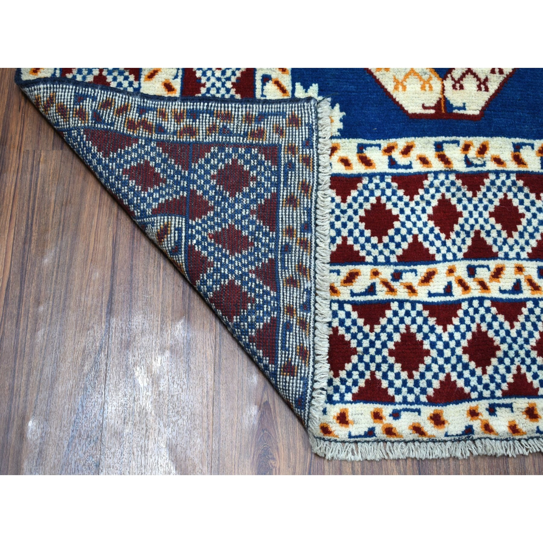"6'7""x9'4"" Blue Elephant Feet Design Colorful Afghan Baluch Hand Knotted Pure Wool Oriental Rug"