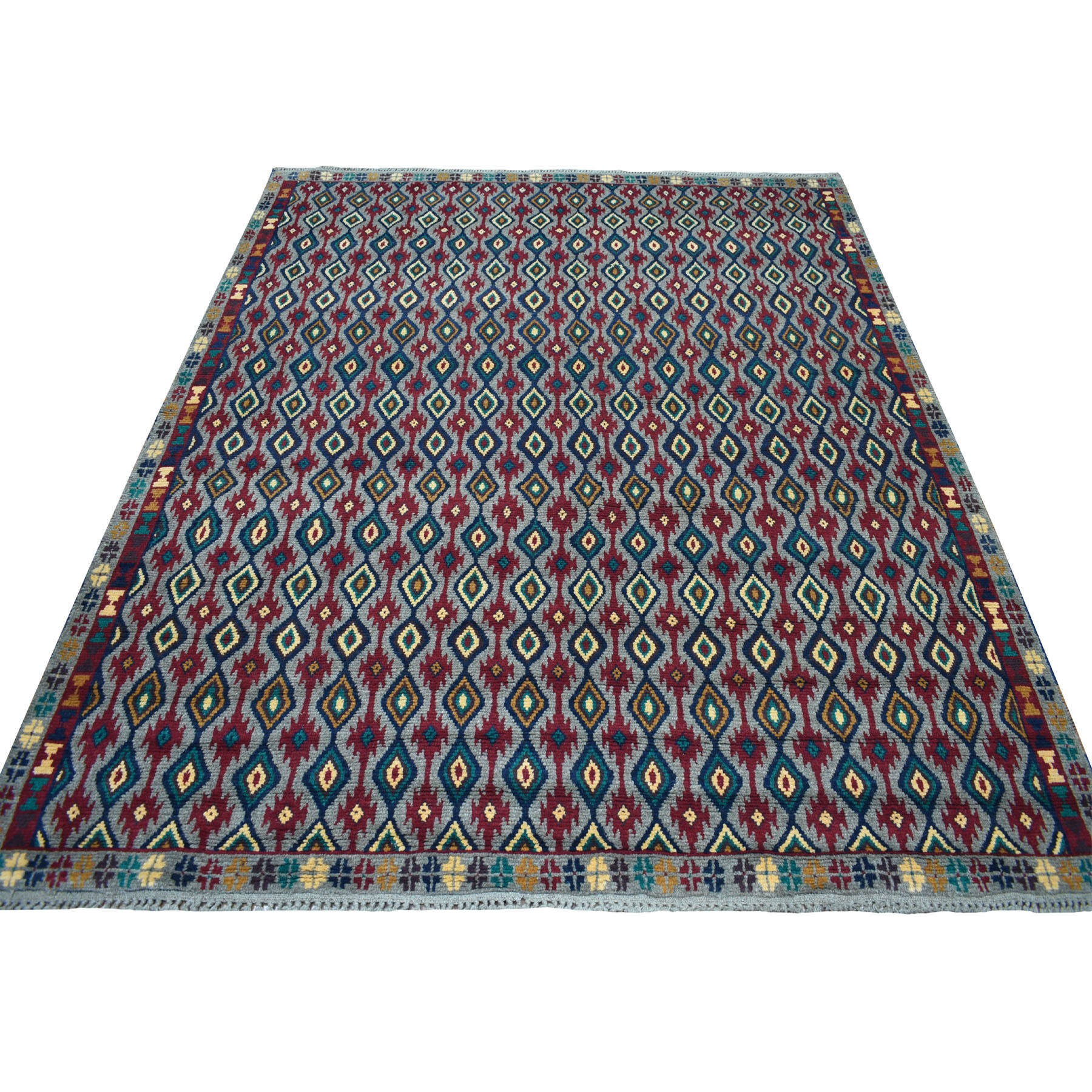 "6'2""x7'3"" Gray Tribal Design Colorful Afghan Baluch Hand Knotted Pure Wool Oriental Rug"
