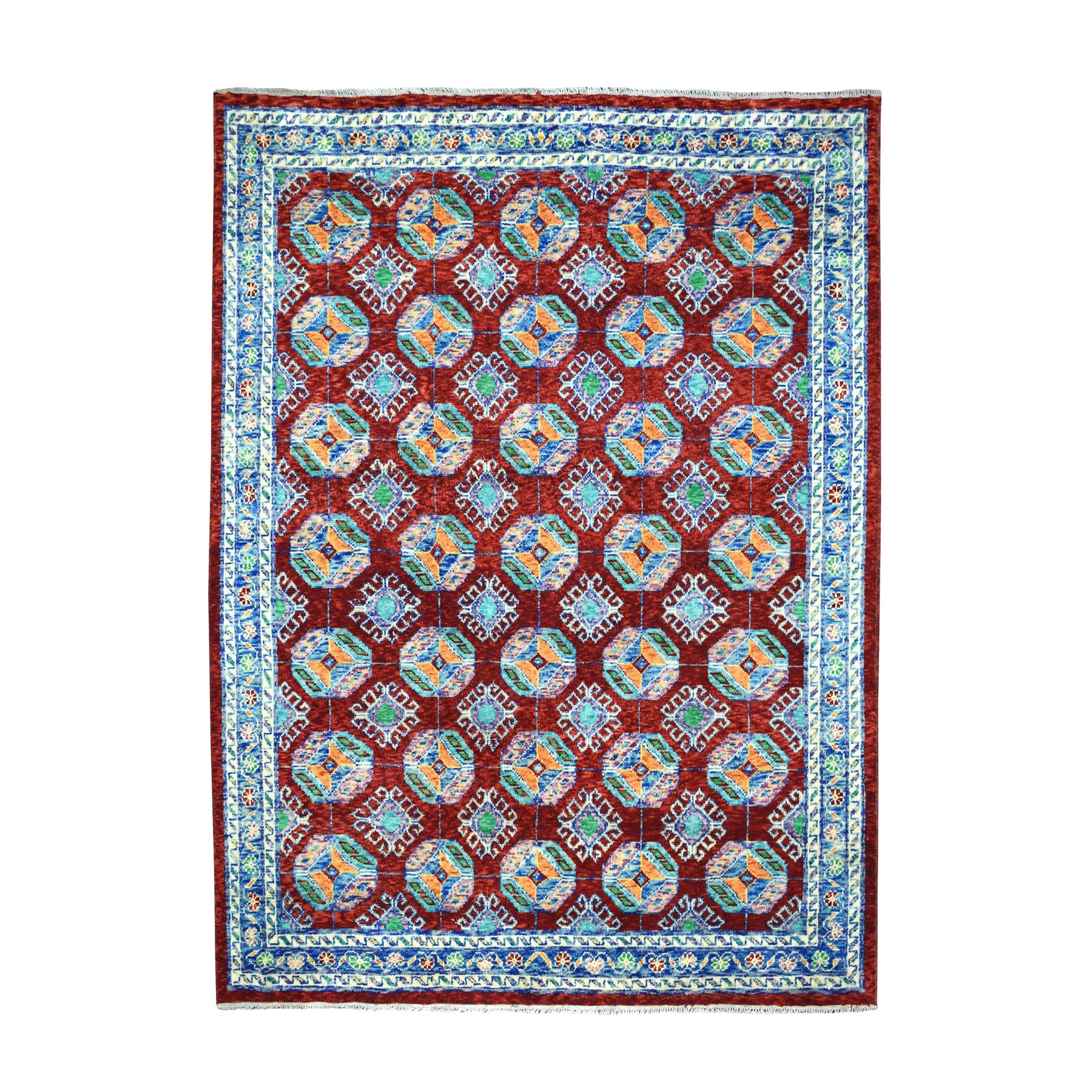 "6'9""x8'7"" Red Elephant Feet Design Colorful Afghan Baluch Hand Knotted Pure Wool Oriental Rug"