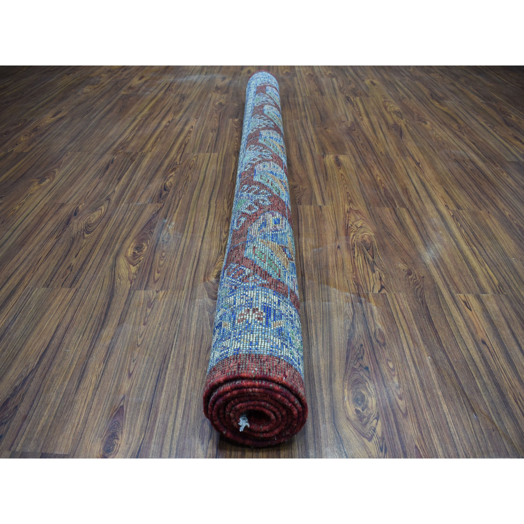 """6'9""""x8'7"""" Red Elephant Feet Design Colorful Afghan Baluch Hand Knotted Pure Wool Oriental Rug"""