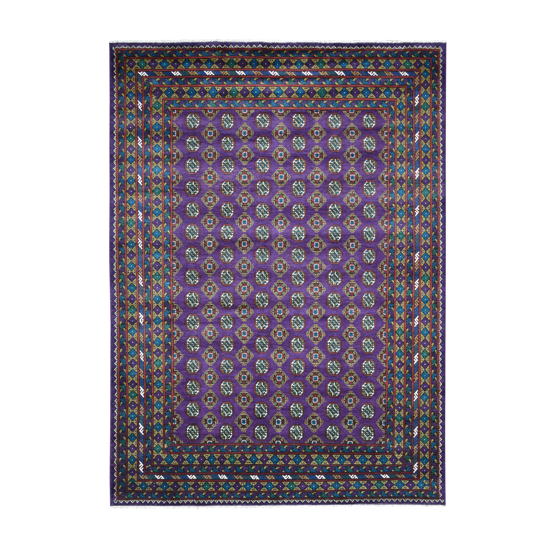 "6'7""x9'4"" Purple Colorful Afghan Baluch Hand Knotted Tribal Design Pure Wool Oriental Rug"