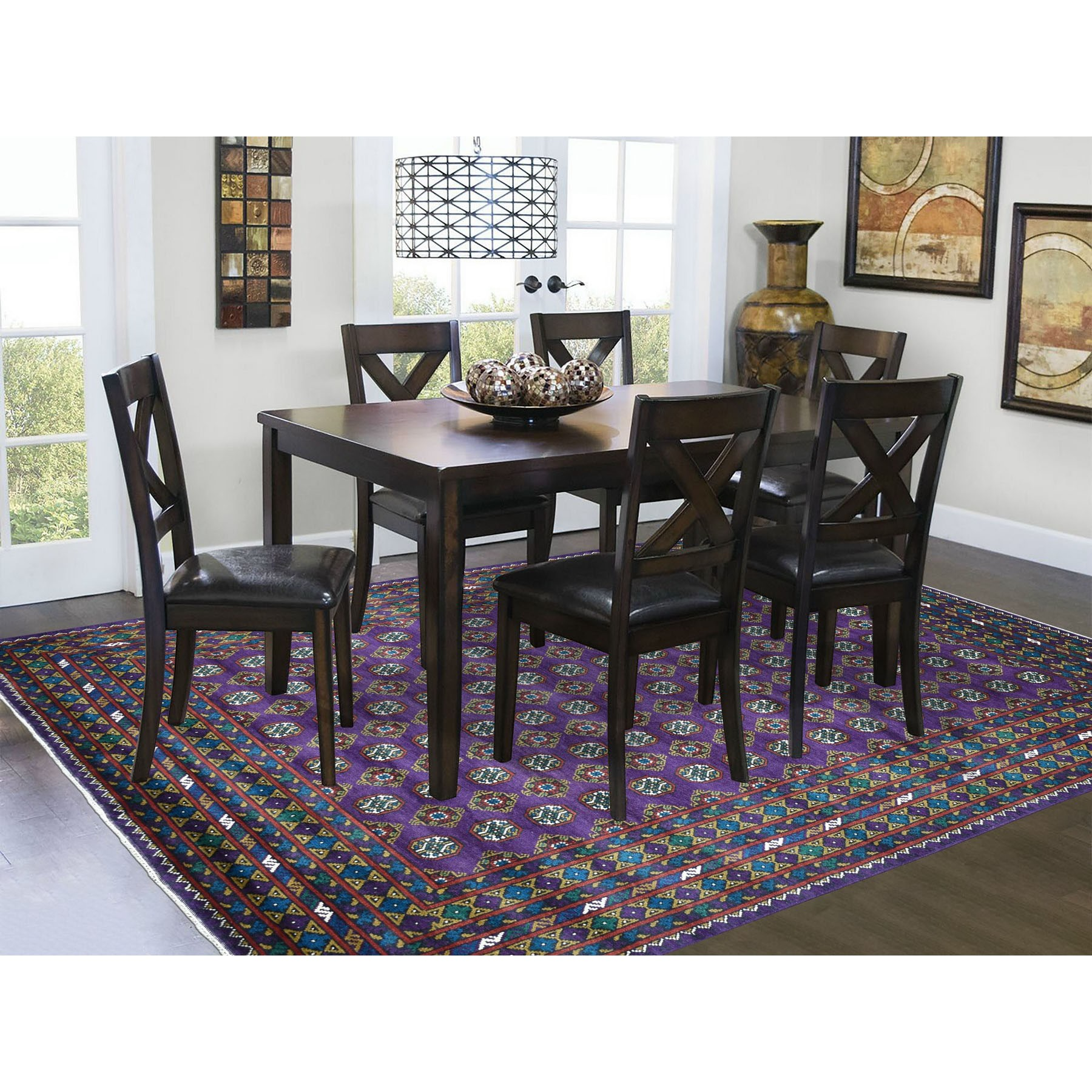 """6'7""""x9'4"""" Purple Colorful Afghan Baluch Hand Knotted Tribal Design Pure Wool Oriental Rug"""