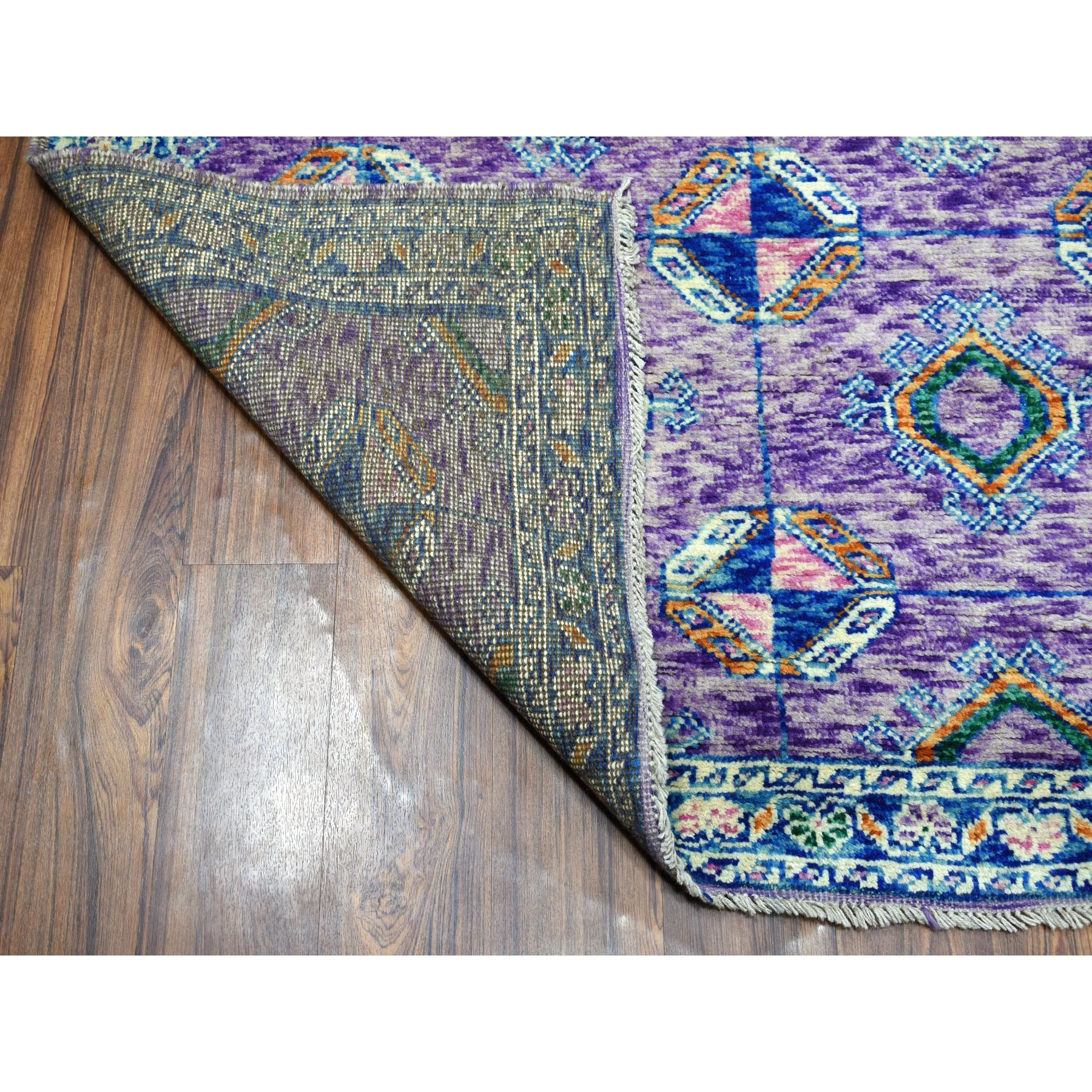 "6'6""x9'7"" Purple Tribal Design Colorful Afghan Baluch Hand Knotted Pure Wool Oriental Rug"
