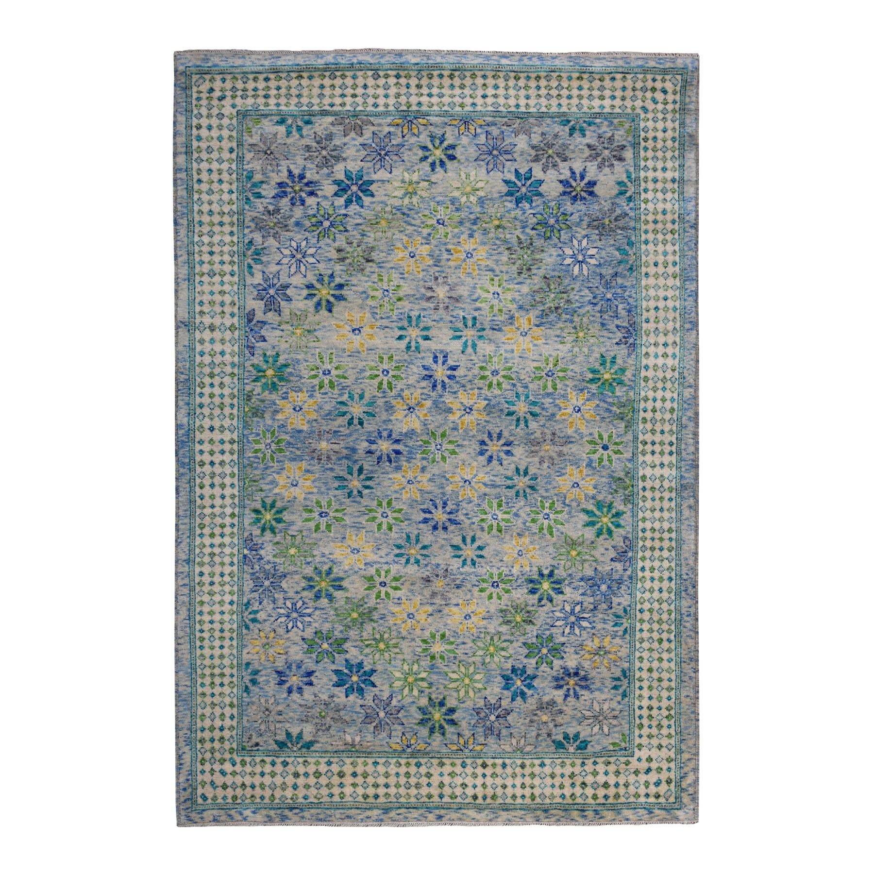 "6'6""x9'10"" Green All Over Design Colorful Afghan Baluch Pure Wool Hand Knotted Oriental Rug"