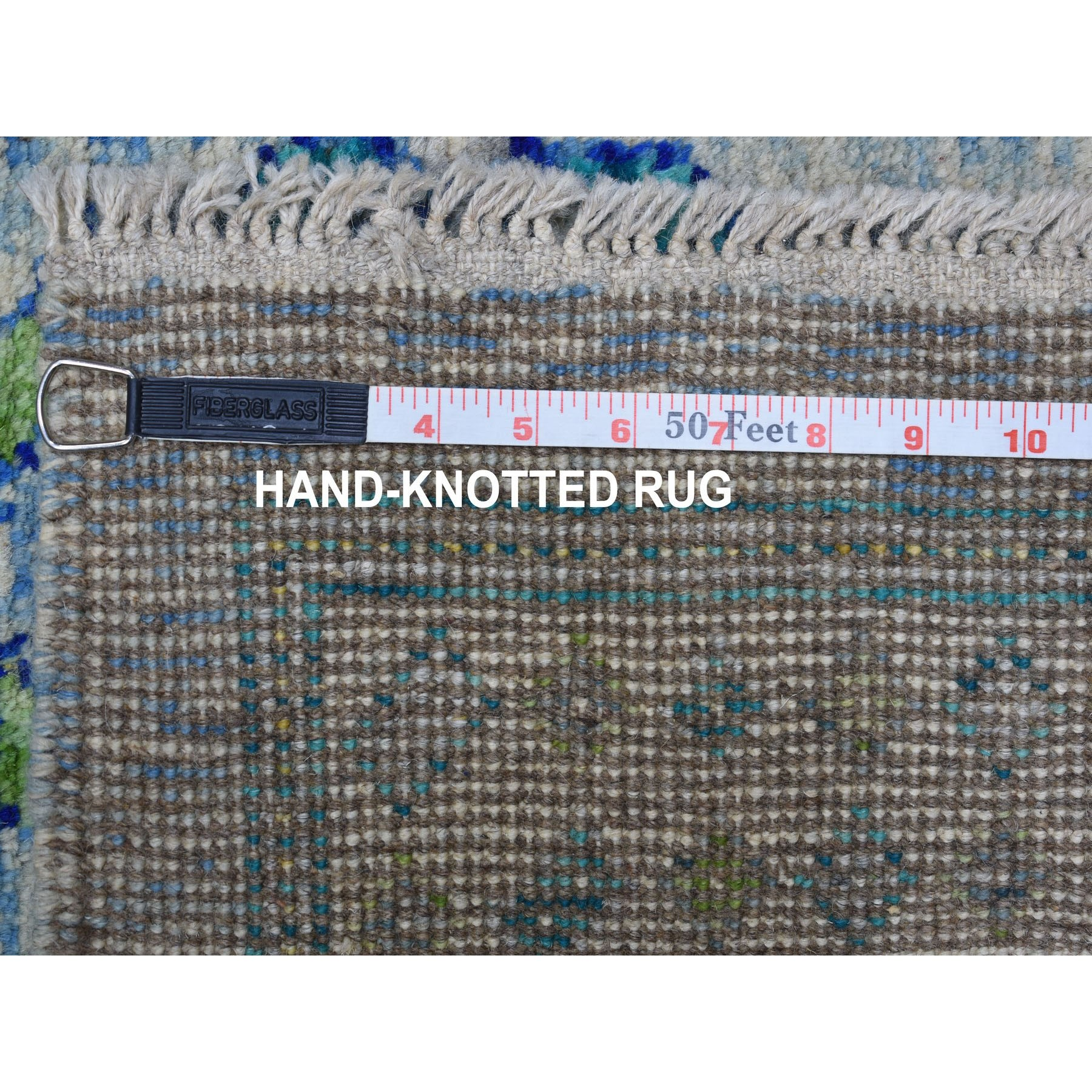 """6'6""""x9'10"""" Green All Over Design Colorful Afghan Baluch Pure Wool Hand Knotted Oriental Rug"""