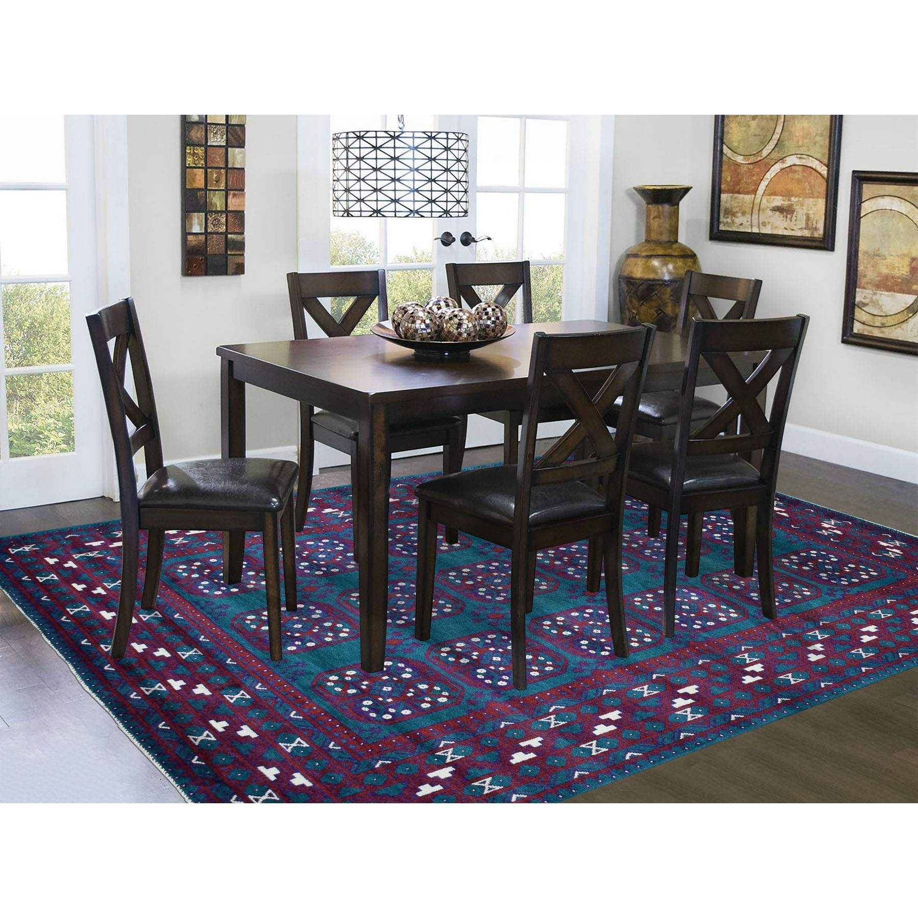 """6'6""""x9'4"""" Green Elephant Feet Design Colorful Afghan Baluch Hand Knotted Pure Wool Oriental Rug"""