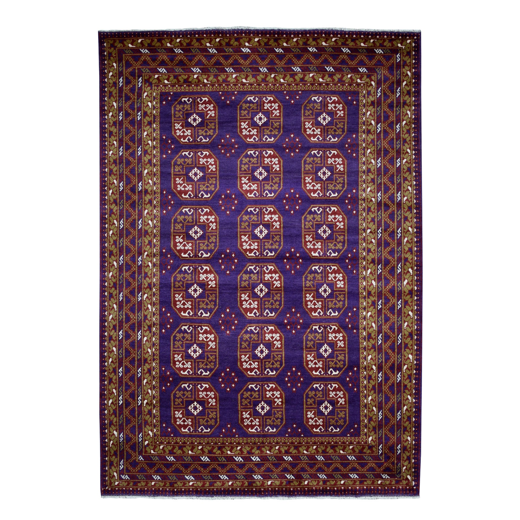 "6'8""x9'5"" Purple Elephant Feet Design Colorful Afghan Baluch Hand Knotted Pure Wool Oriental Rug"
