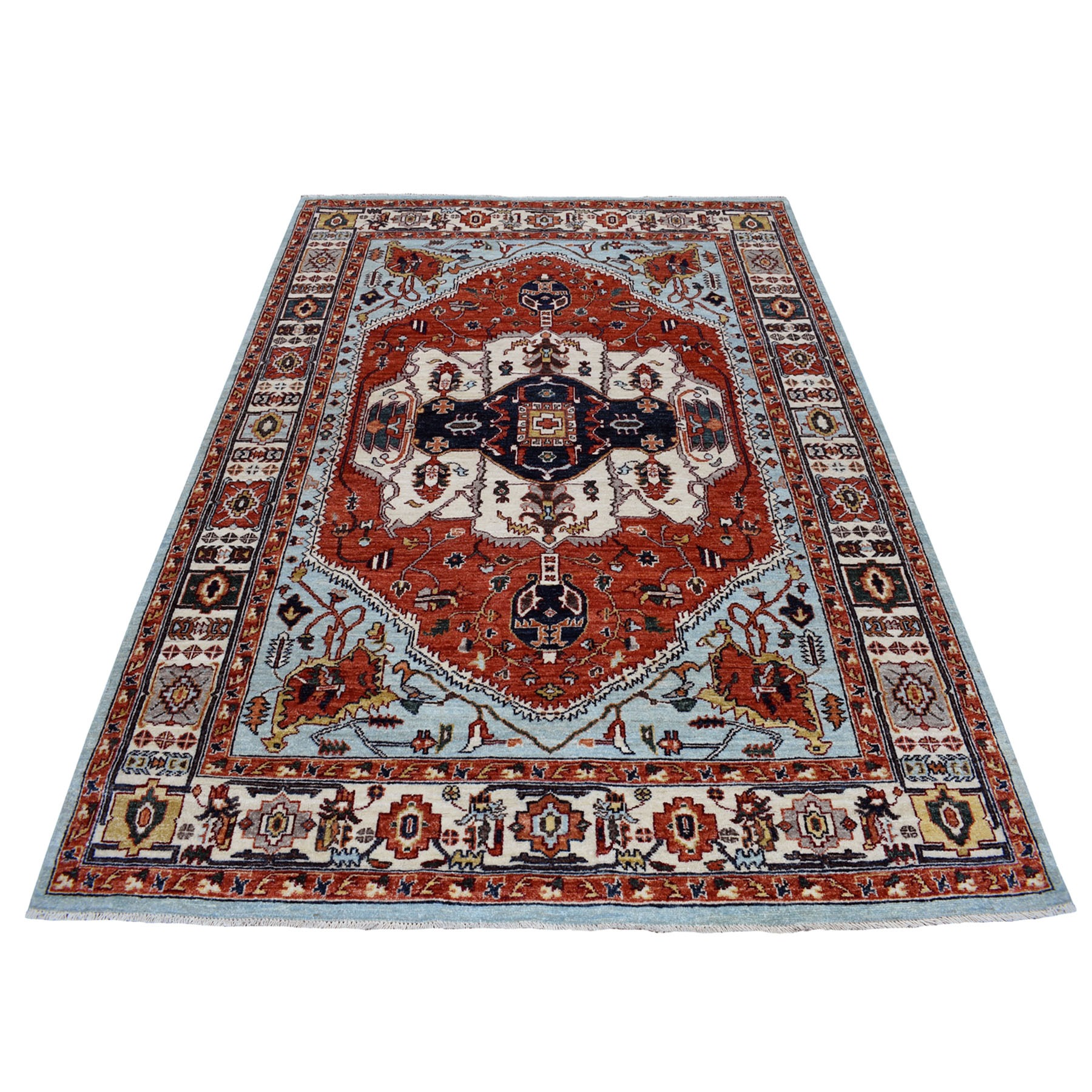 """5'7""""X8' Red Heriz Design Afghan Ersari Hand Knotted Pure Wool Oriental Rug moaecce6"""