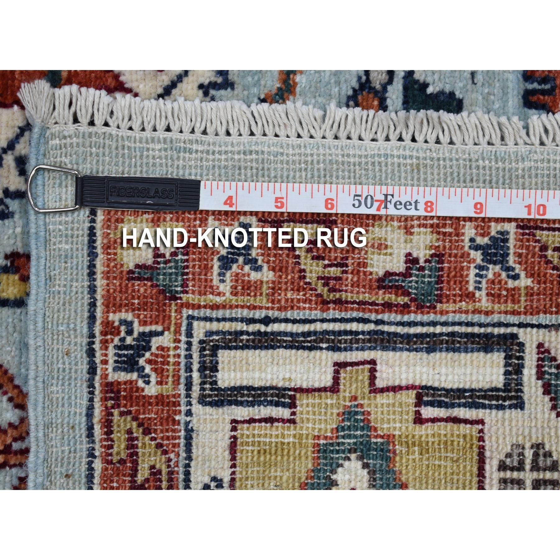 "5'7""x8' Red Heriz Design Afghan Ersari Hand Knotted Pure Wool Oriental Rug"