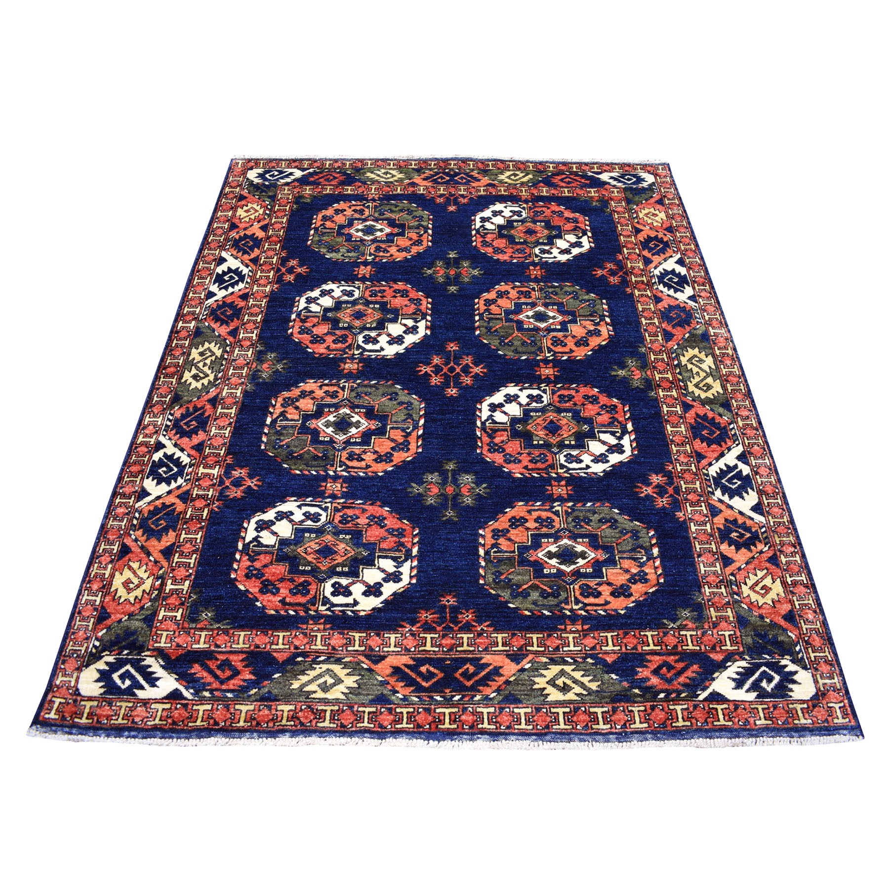 "5'x6'6"" Blue Elephant Feet Design Afghan Ersari Hand Knotted Pure Wool Oriental Rug"