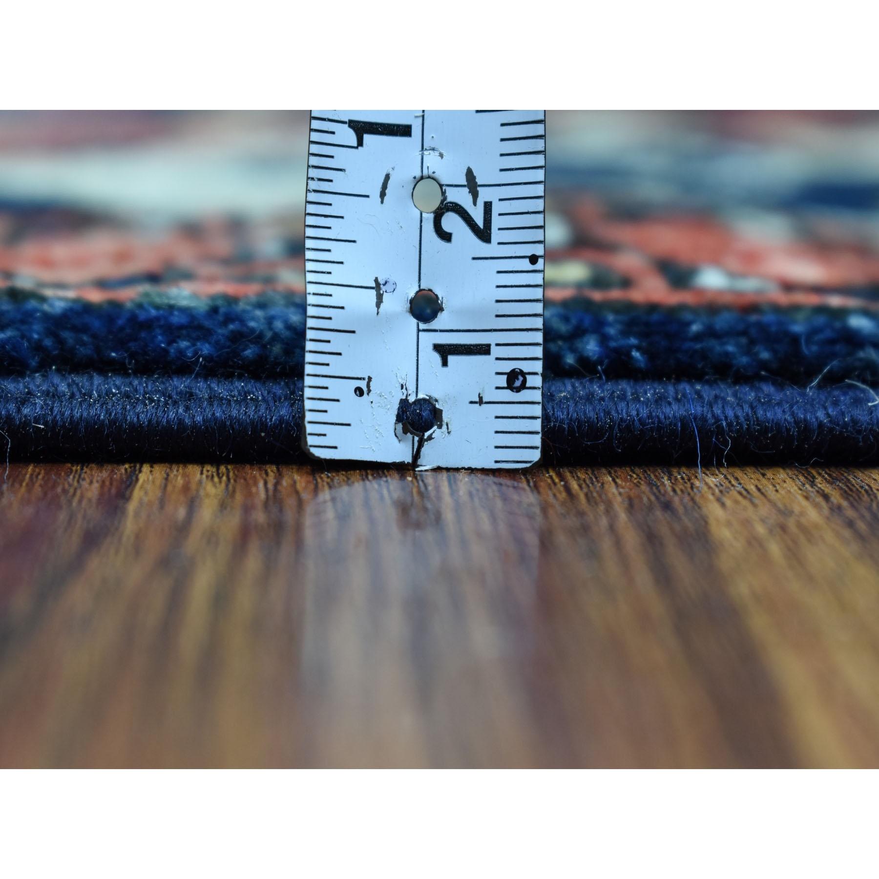 "5'x6'6"" Blue Elephant Feet Design Afghan Ersari Hand Knotted Pure Wool Oriental Rug"