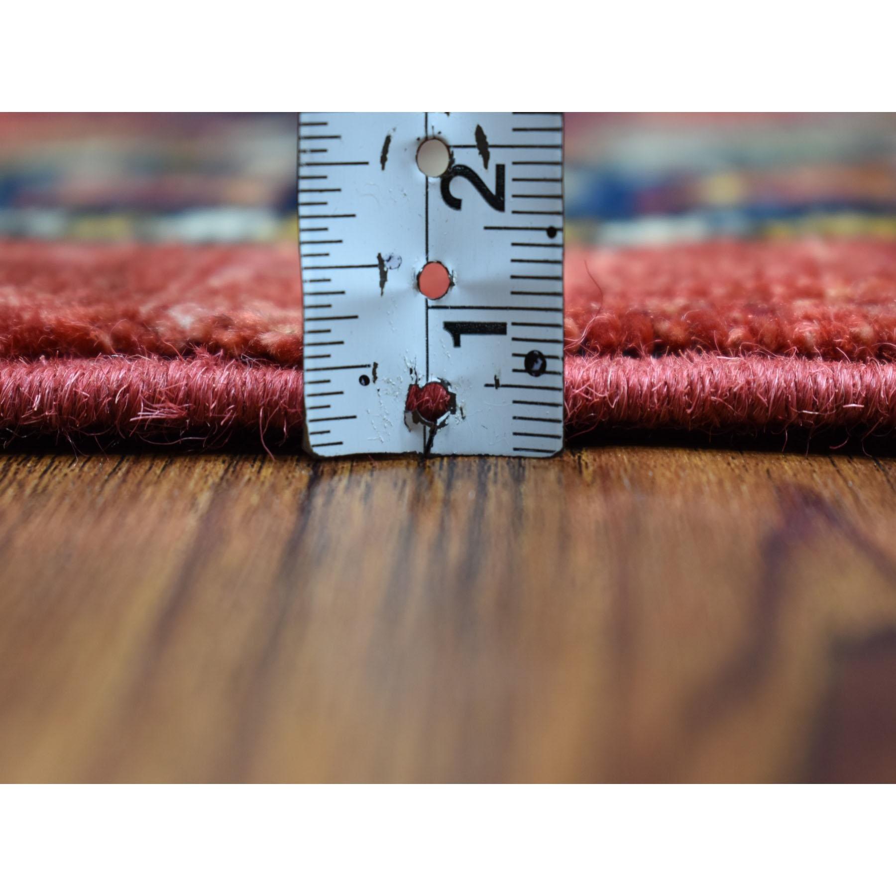 6'x9' Red Elephant Feet Design Afghan Ersari Hand Knotted Pure Wool Oriental Rug