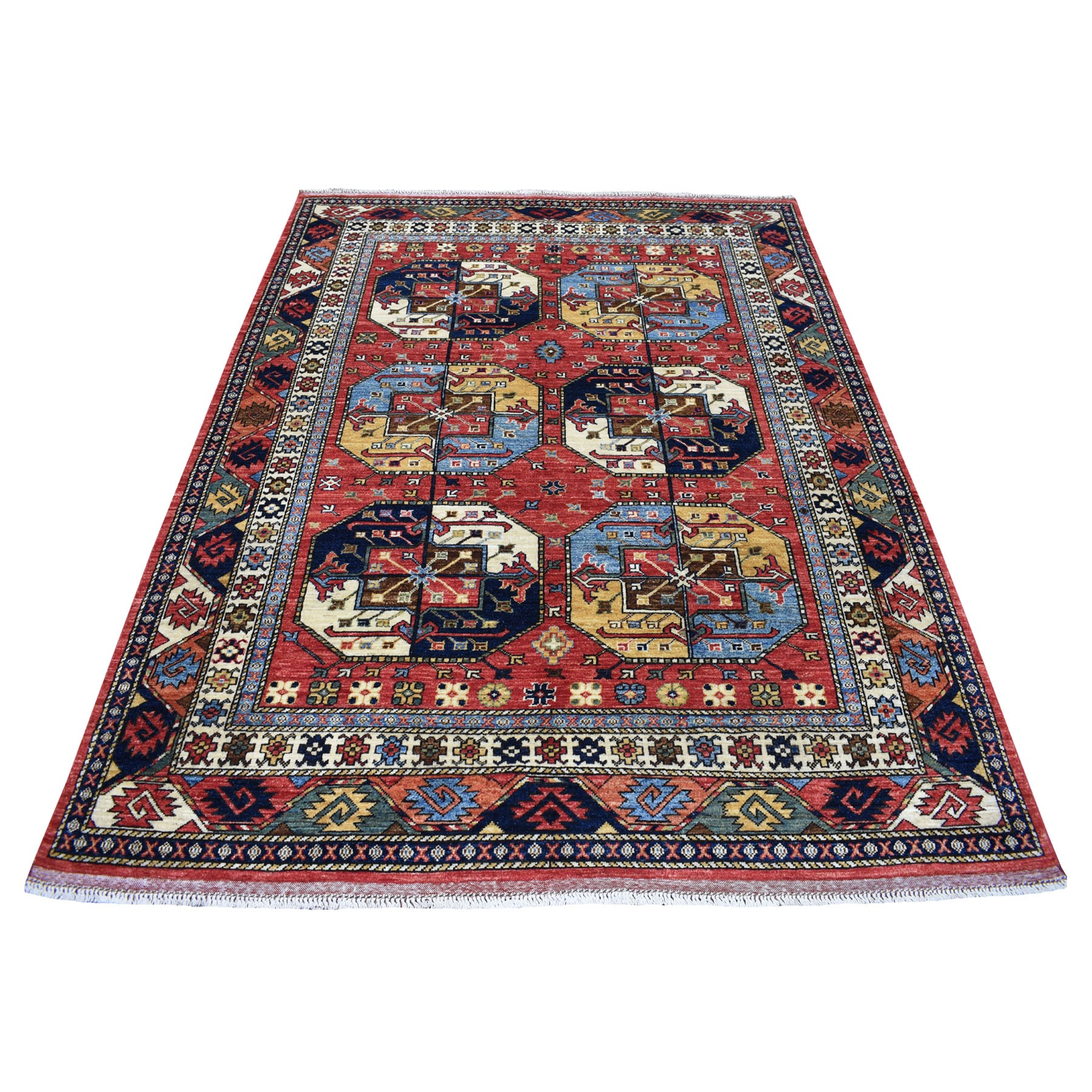 "5'10""x7'9"" Red Afghan Ersari Elephant Feet Design Hand Knotted Pure Wool Oriental Rug"