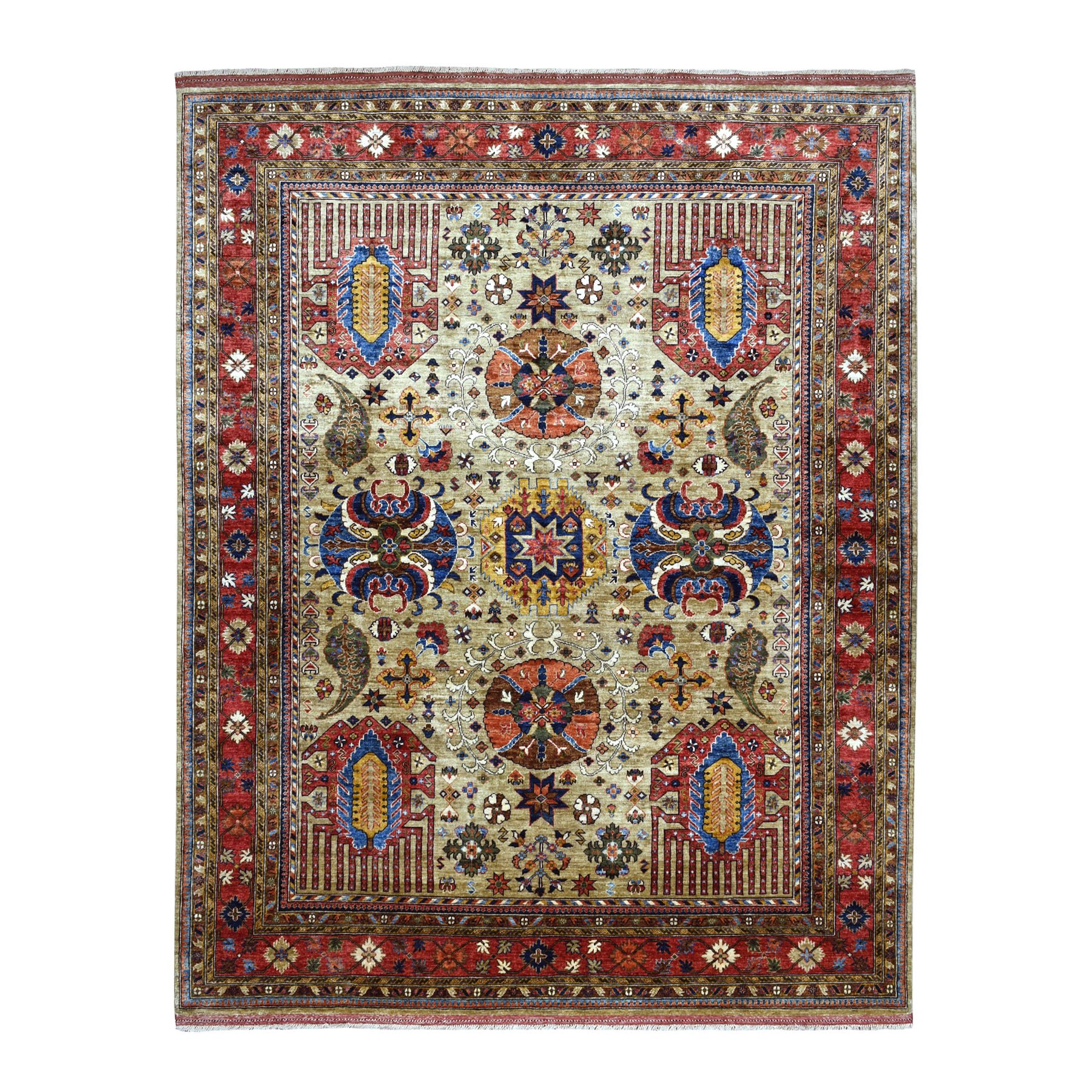 "8'4""x10' Afghan Ersari With Ancient Motifs Natural Dyes Hand Knotted Pure Wool Oriental Rug"