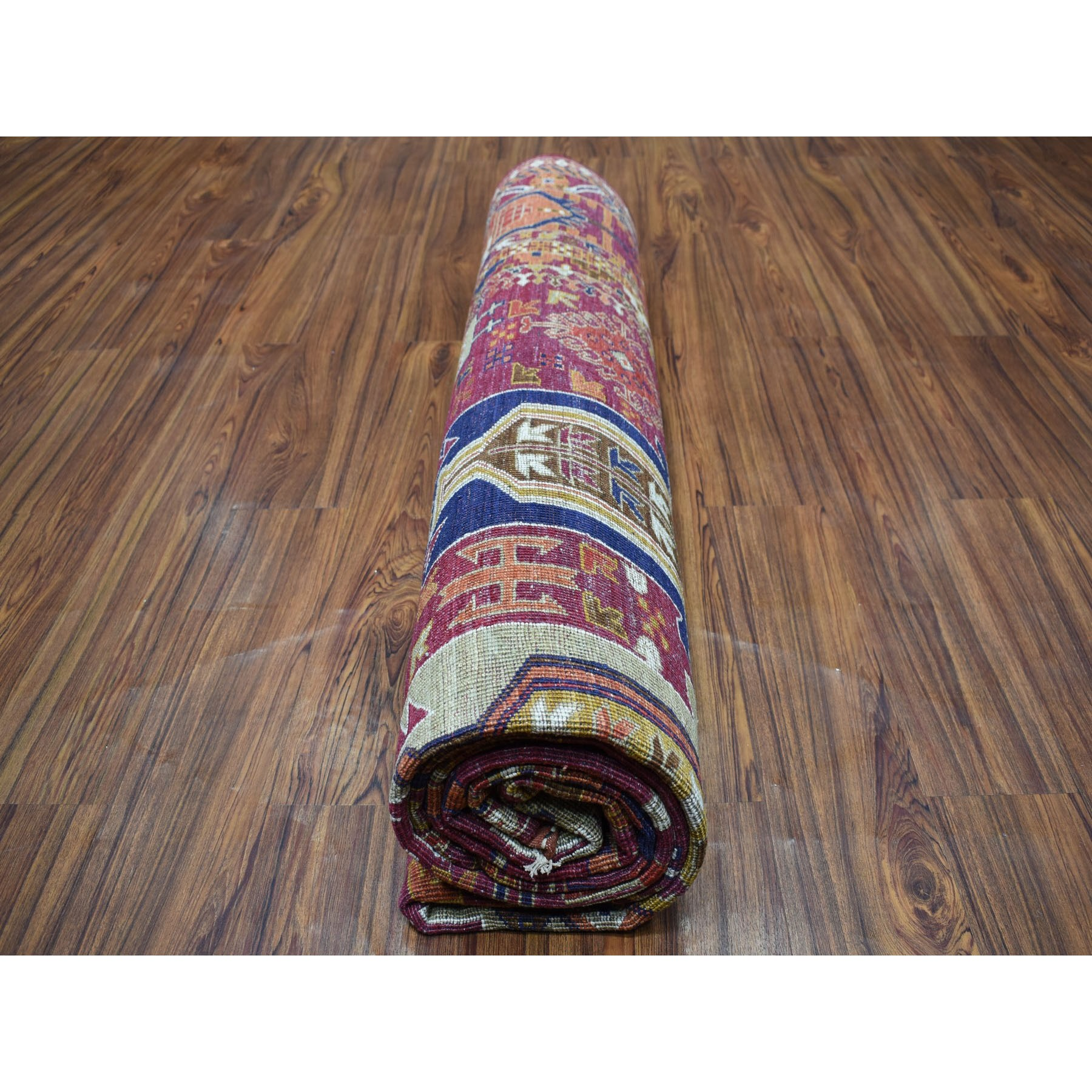 "8'1""x9'10"" Afghan Ersari Natural Dyes Soft Pile Colorful Geometric Design Hand Knotted 100%Wool Oriental Rug"