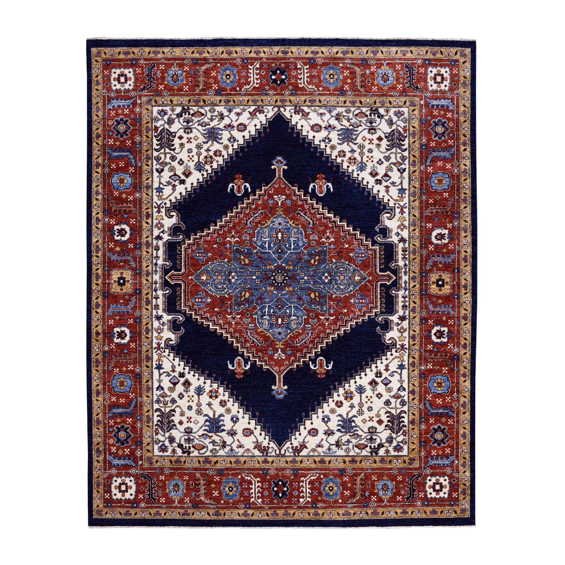 "7'10""x9'5"" Navy Blue Peshawar With Heriz Design Hand Knotted Pure Wool Oriental Rug"