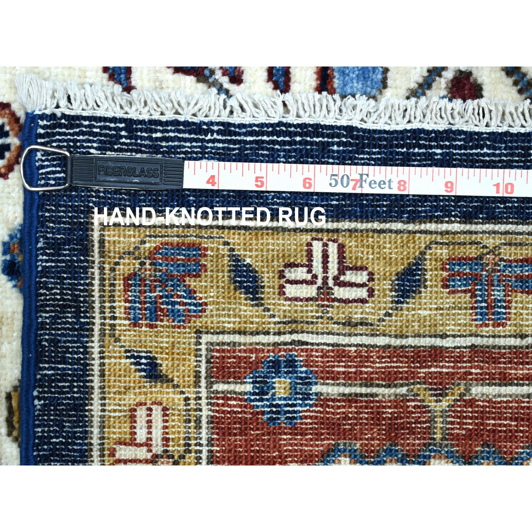 """7'10""""x9'5"""" Navy Blue Peshawar With Heriz Design Hand Knotted Pure Wool Oriental Rug"""
