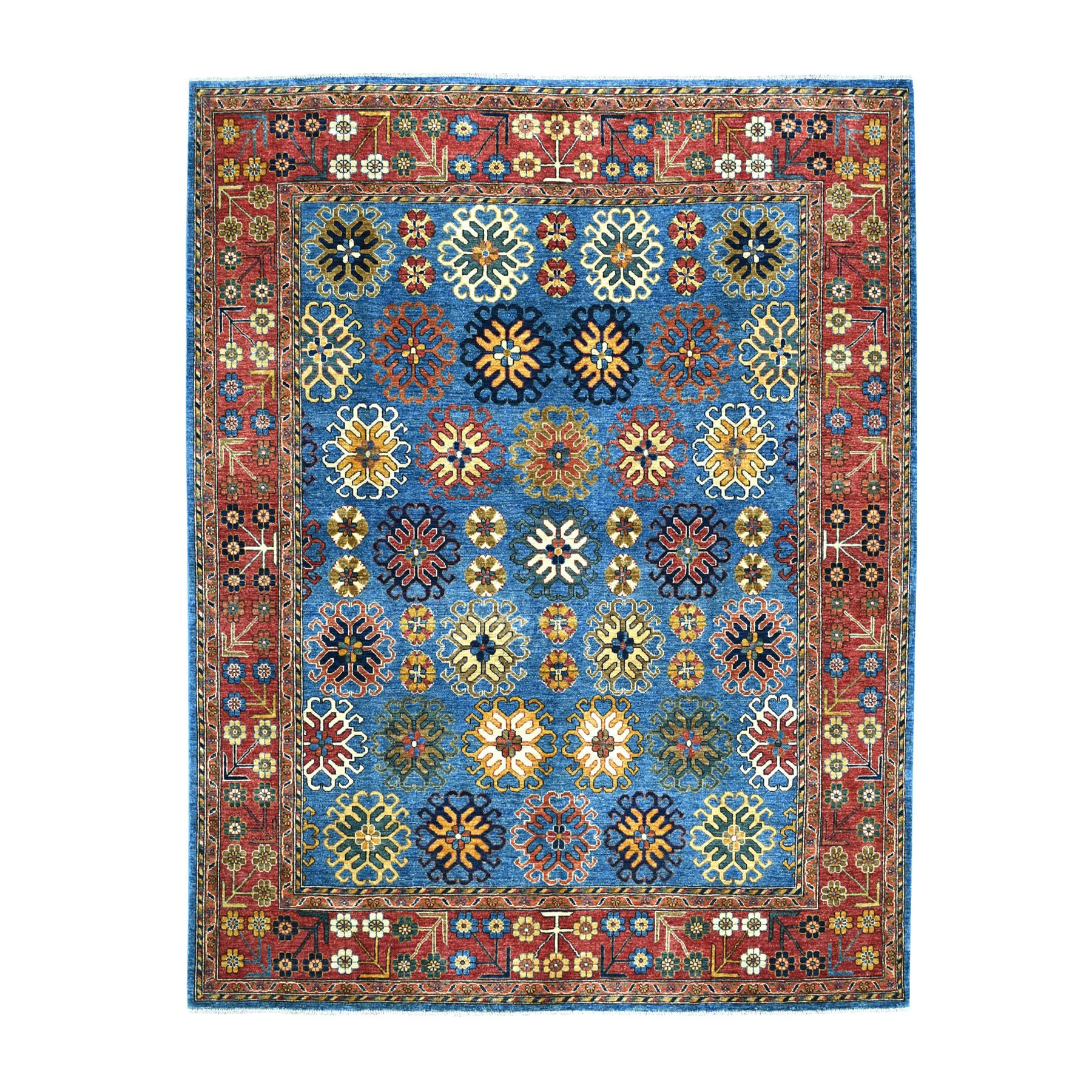 "8'x9'9"" Blue Afghan Ersari With Repetitive Rosette Design Soft Pile Hand Knotted 100% Wool Oriental Rug"