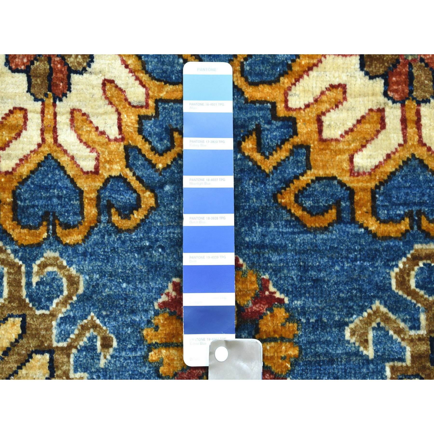 """8'x9'9"""" Blue Afghan Ersari With Repetitive Rosette Design Soft Pile Hand Knotted 100% Wool Oriental Rug"""