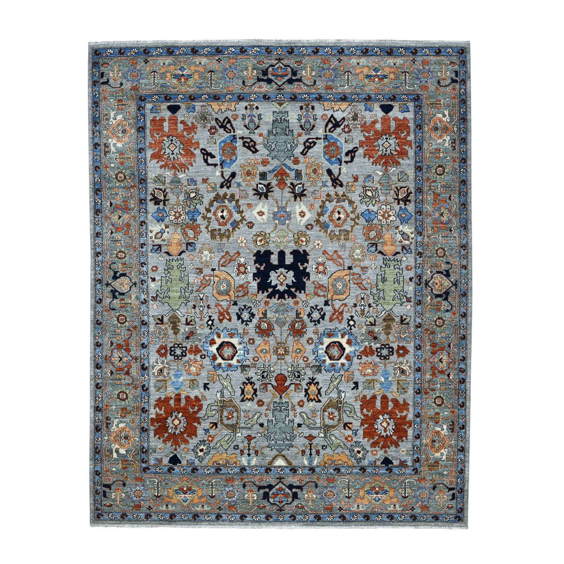"7'10""x10' Gray Peshawar With Oushak Design Colorful Hand Knotted Pure Wool Oriental Rug"