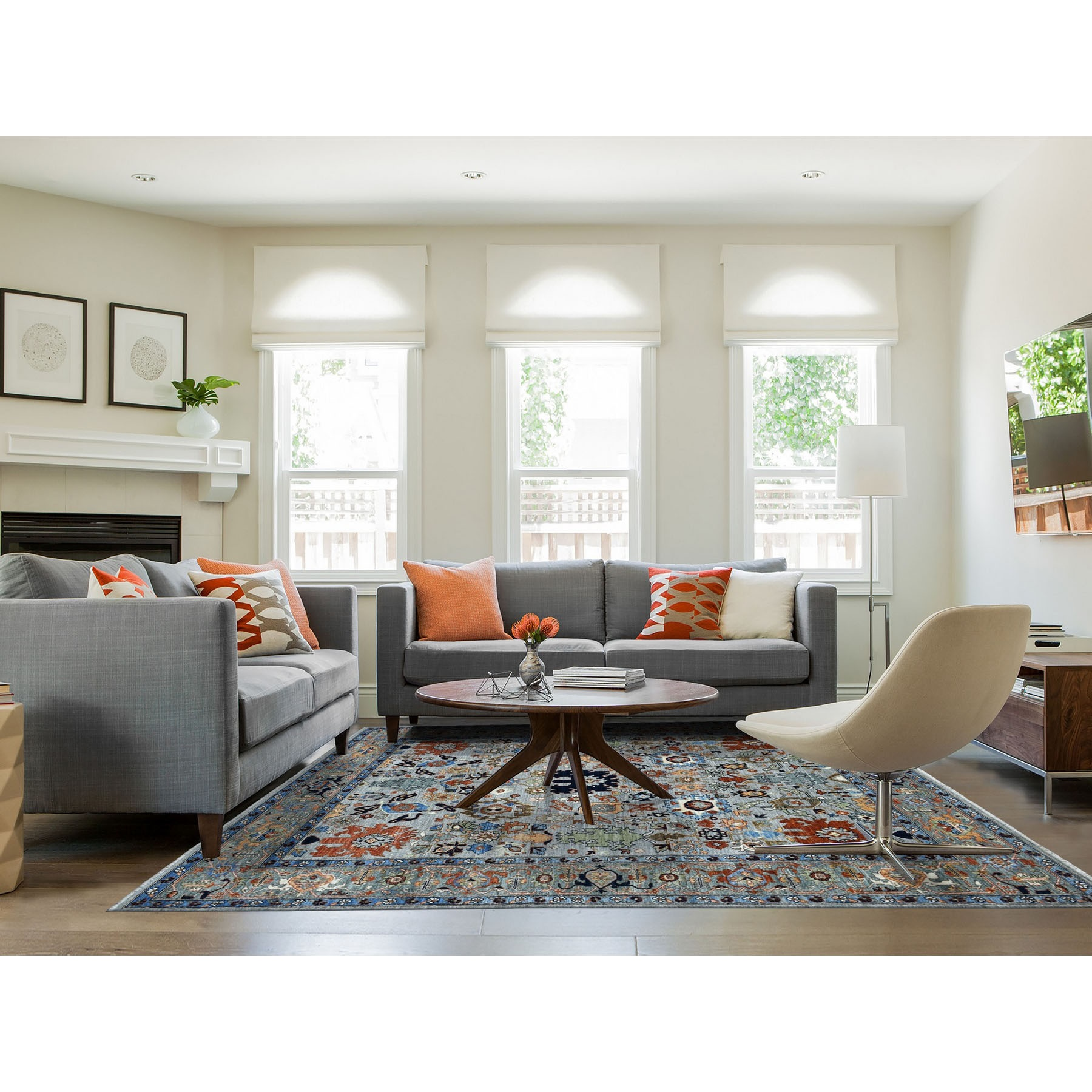 """7'10""""x10' Gray Peshawar With Oushak Design Colorful Hand Knotted Pure Wool Oriental Rug"""