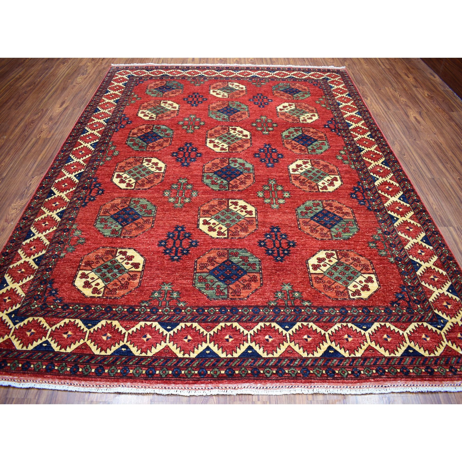 "8'1""x10' Afghan Ersari With Elephant Feet Design Vegetable Dyes Pure Wool Hand Knotted Oriental Rug"