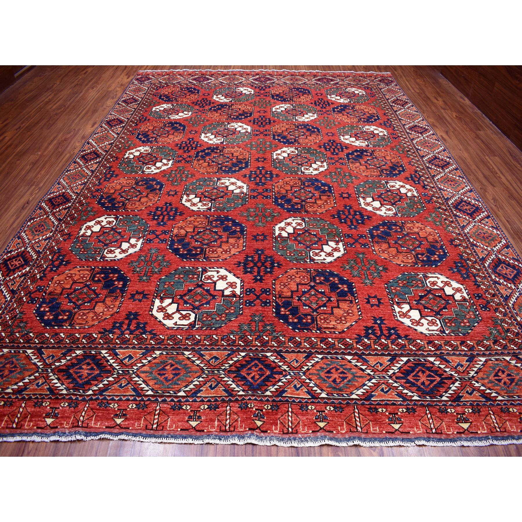 "9'9""x13'4"" Afghan Ersari With Elephant Feet Design Greens Natural Dyes Pure Wool Hand Knotted Oriental Rug"