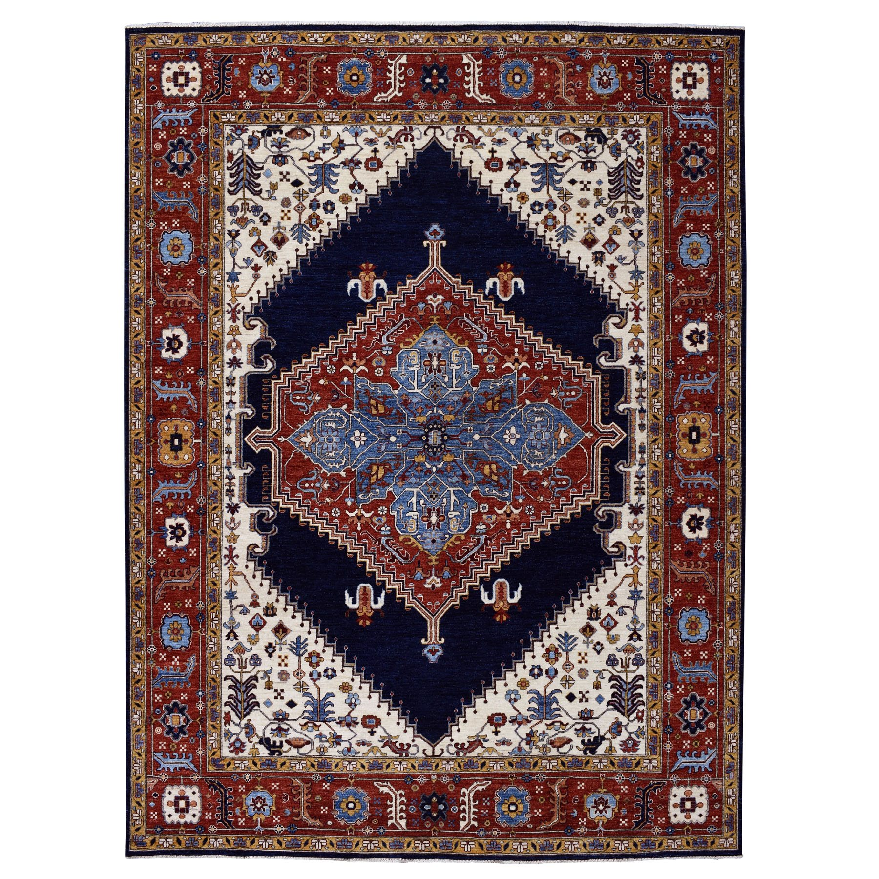 "9'x11'9"" Blue Peshawar With Heriz Design Hand Knotted Pure Wool Oriental Rug"