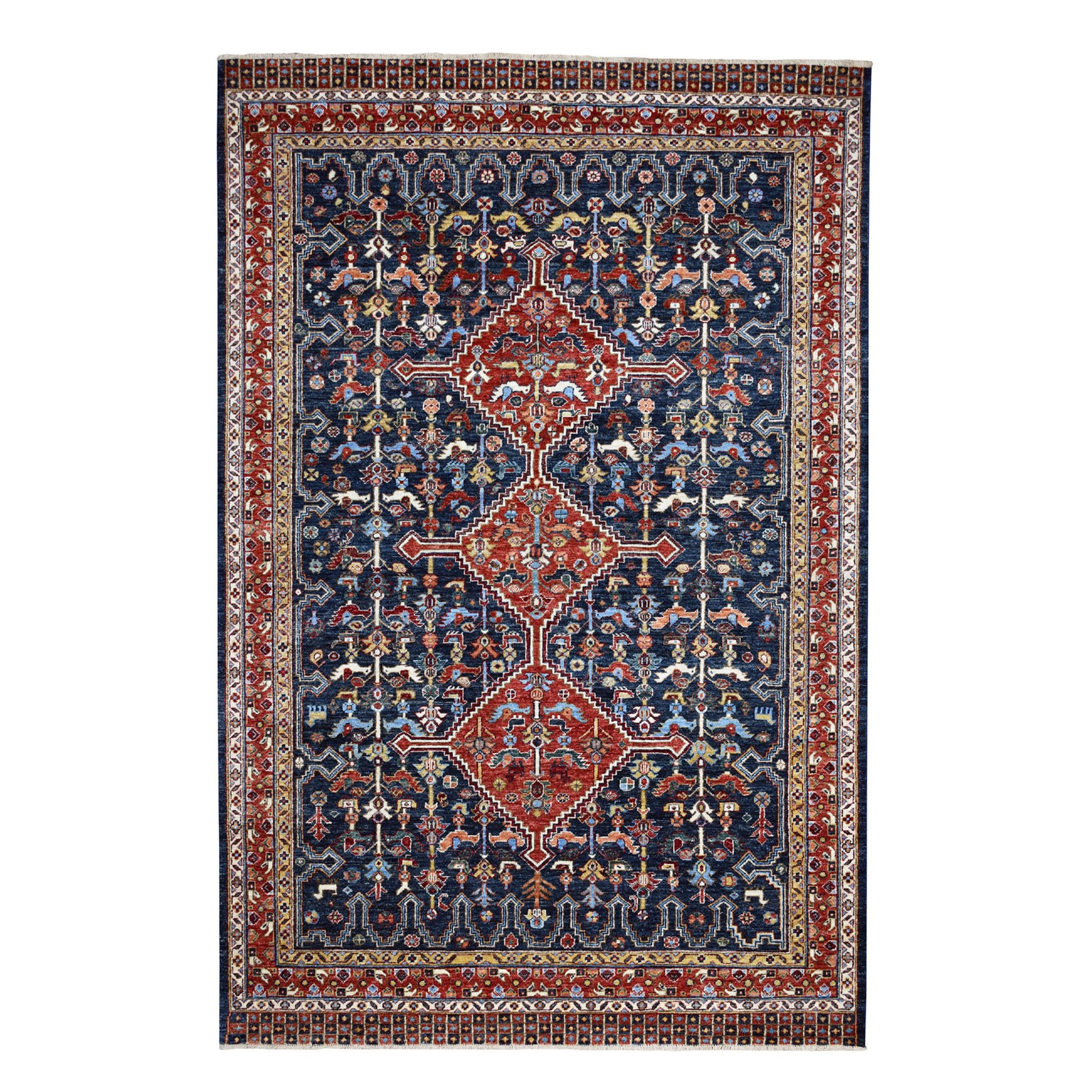 6'x9' Peshawar With Antique Qashqai Design Hand Knotted Pure Wool Oriental Rug