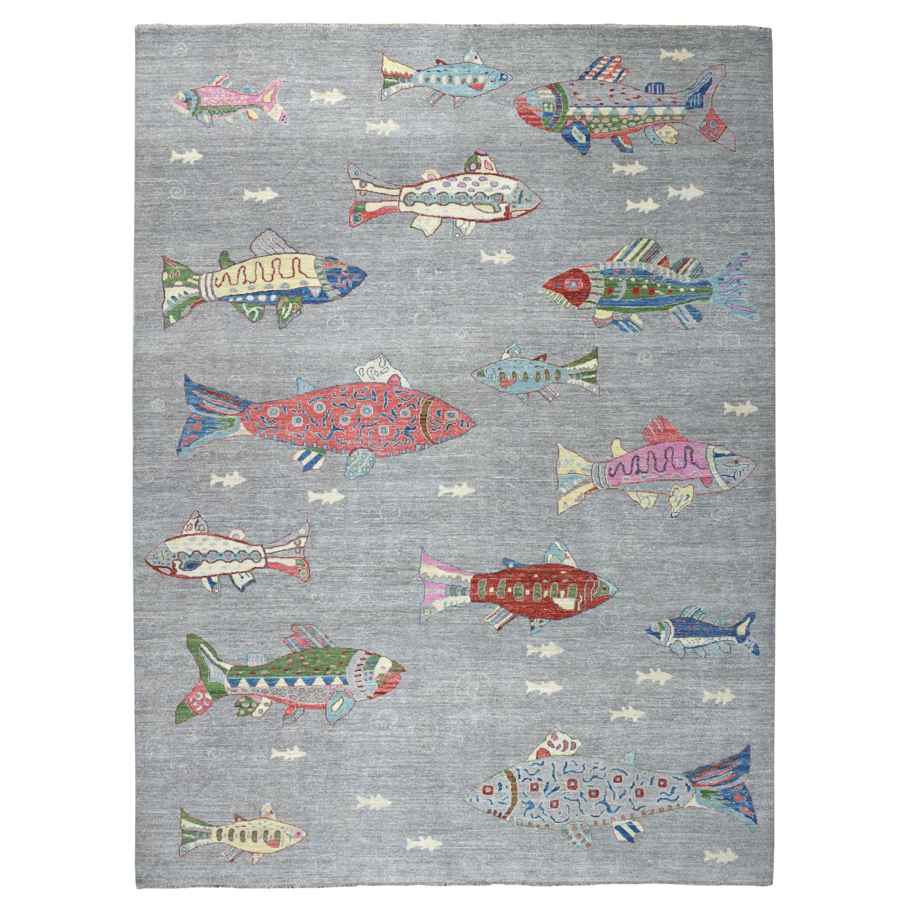 "9'2""x11'10"" Oceanic Fish Design 100% Wool Peshawar Hand Knotted Oriental Rug"