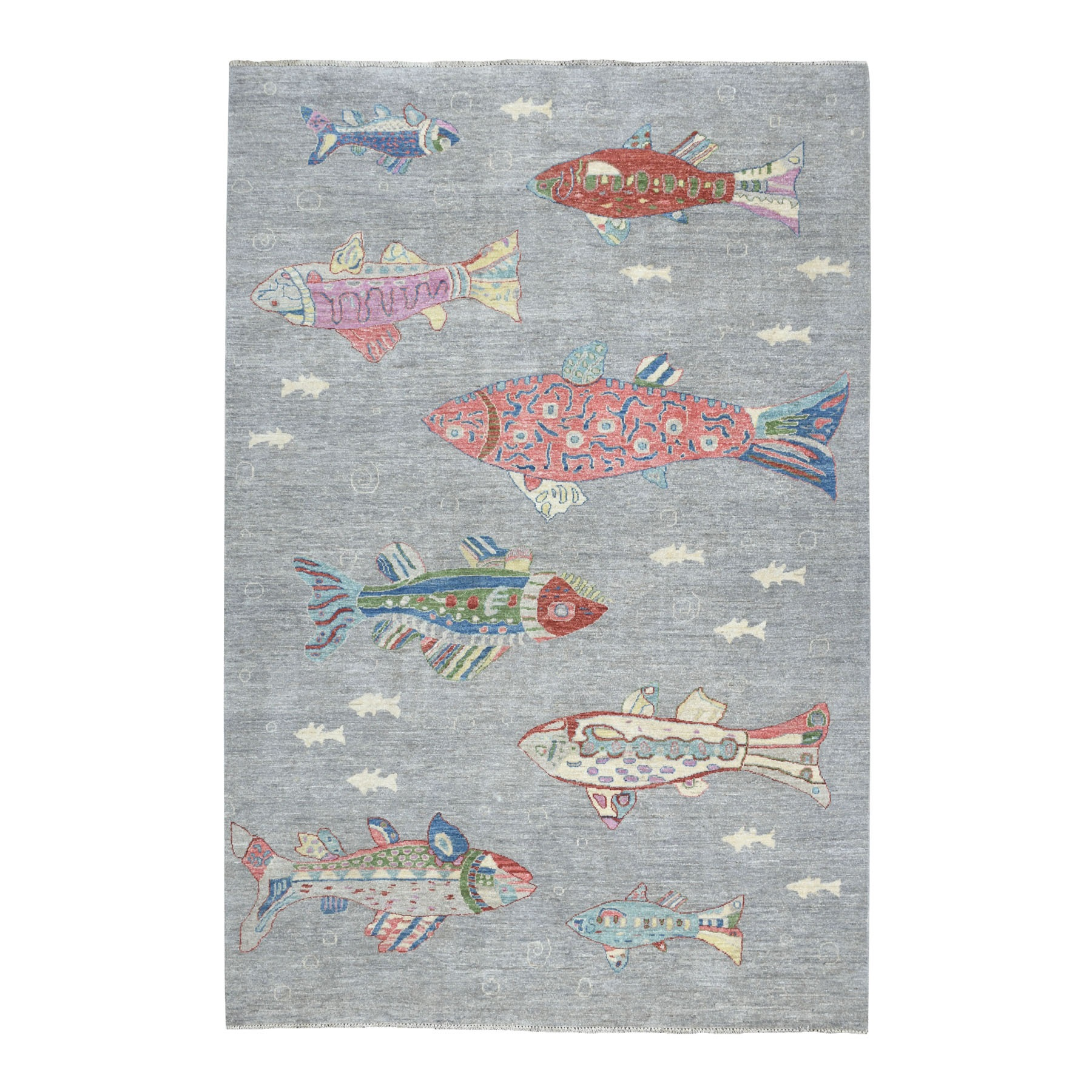 "6'2""x8'6"" Oceanic Fish Design 100% Wool Peshawar Hand Knotted Oriental Rug"