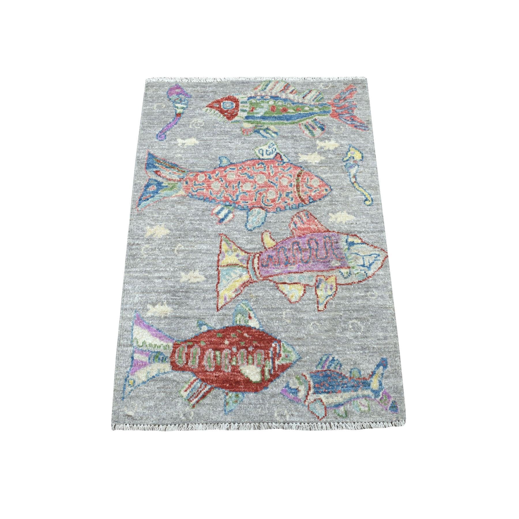 2'X3' Oceanic Fish Design Pure Wool Peshawar Hand Knotted Oriental Rug moaecc8b
