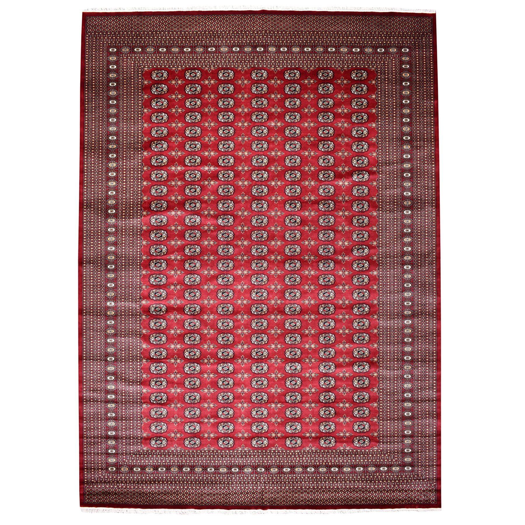 "9'x12'3"" Red Super Fine Mori Bokara Elephant Feet Design Hand-Knotted Oriental Rug"