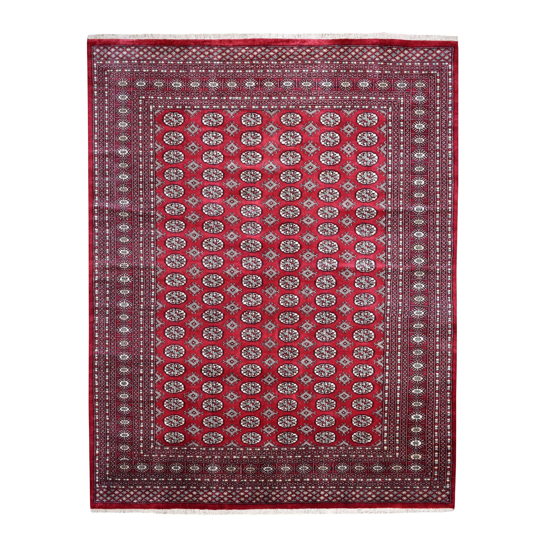"8'x10'2"" Red Mori Bokara Elephant Feet Design 100% Wool Hand Knotted Oriental Rug"