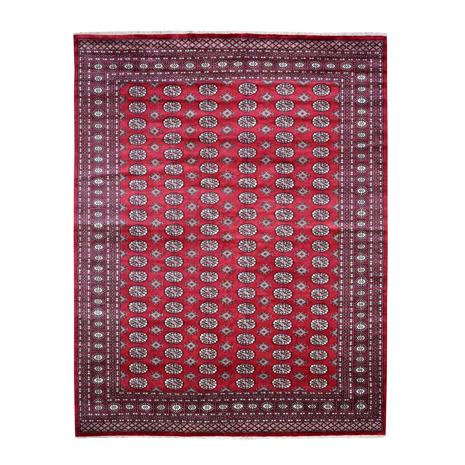 "8'2""x10'10"" Red Mori Bokara Elephant Feet Design Pure Wool Hand Knotted Oriental Rug"