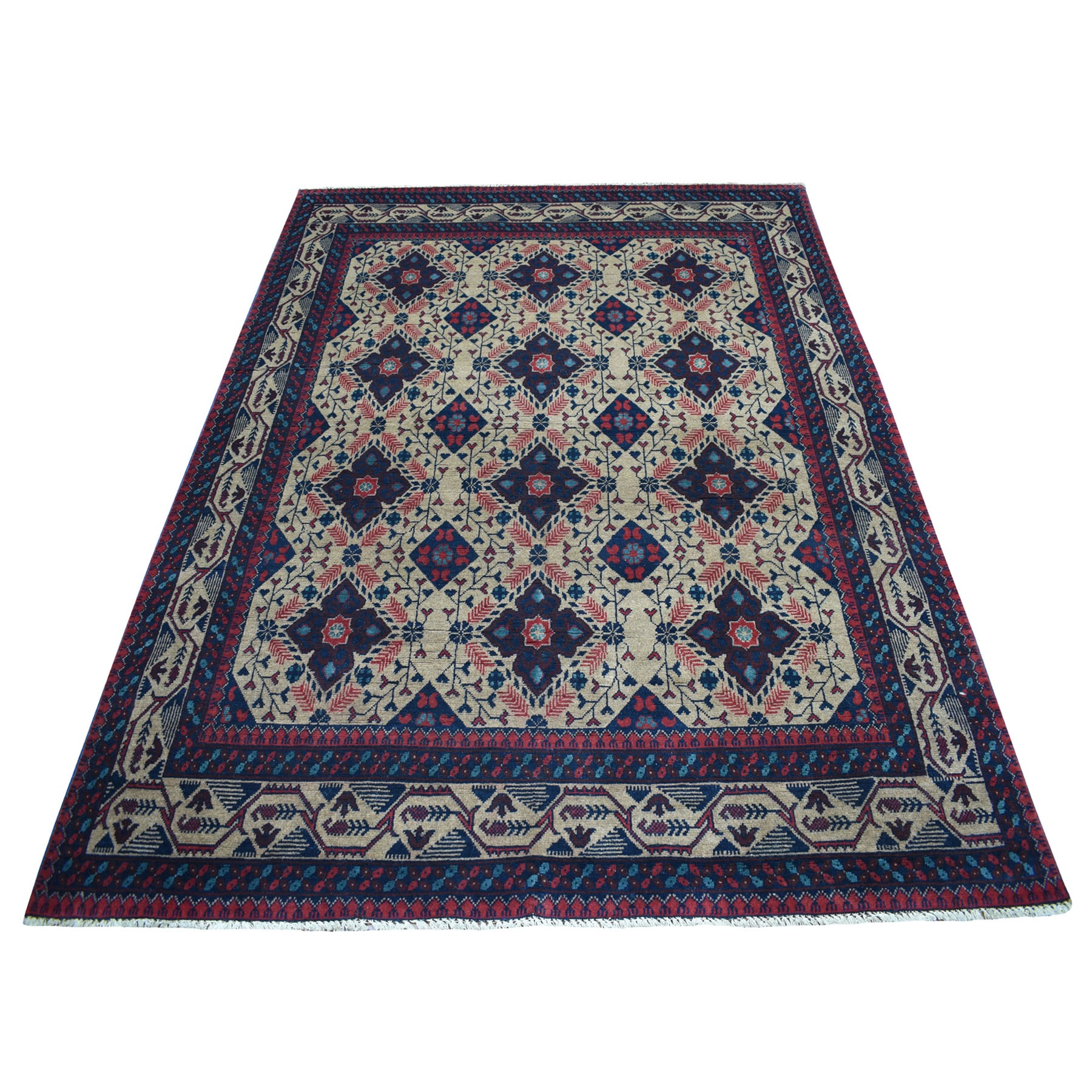 "5'6""X7'2"" Vintage Look Geometric Afghan Andkhoy Pure Wool Hand Knotted Oriental Rug moaecd00"