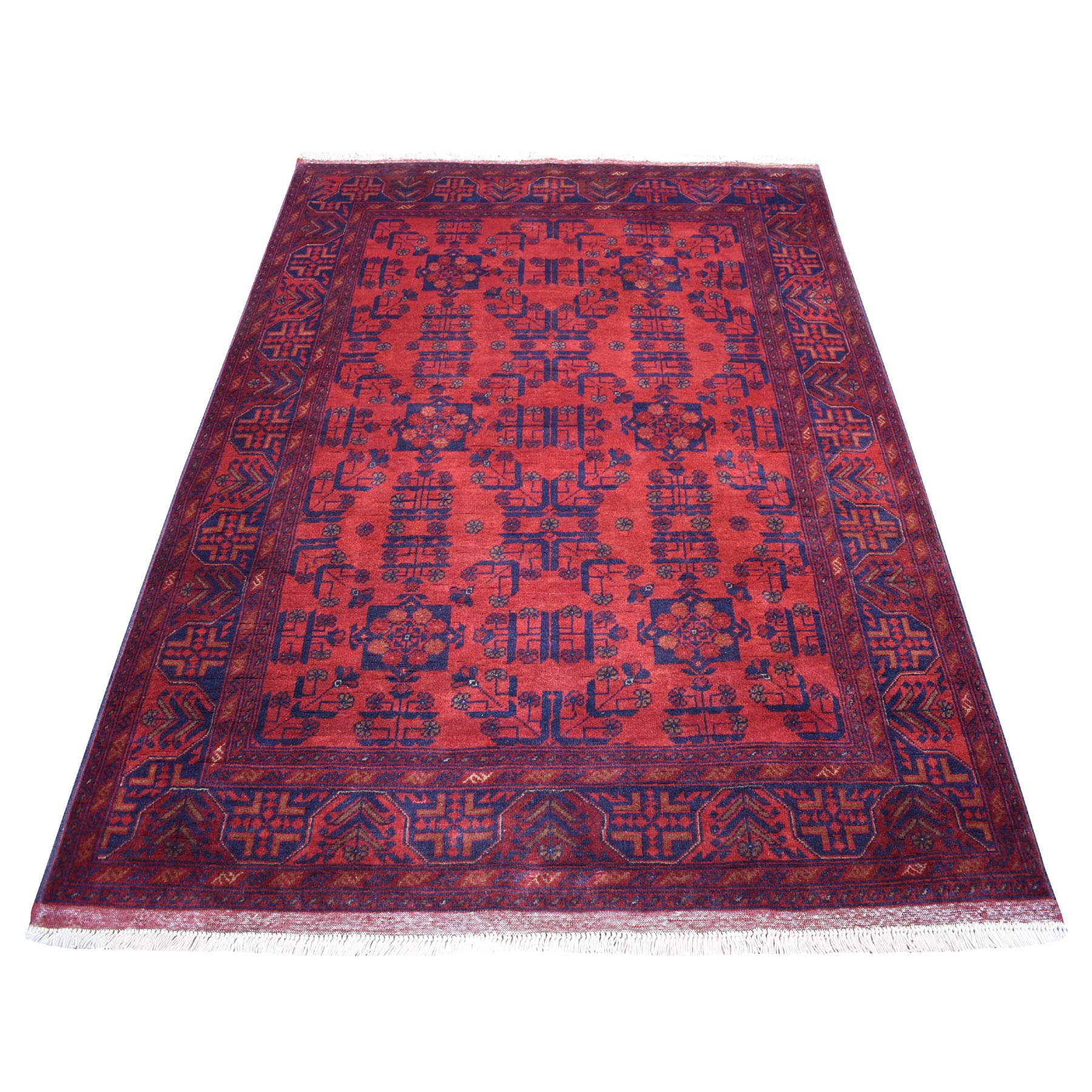 """4'9""""x6'5"""" Deep and Saturated Red Tribal Design Afghan Andkhoy Pure Wool Hand-Knotted Oriental Rug 53401"""
