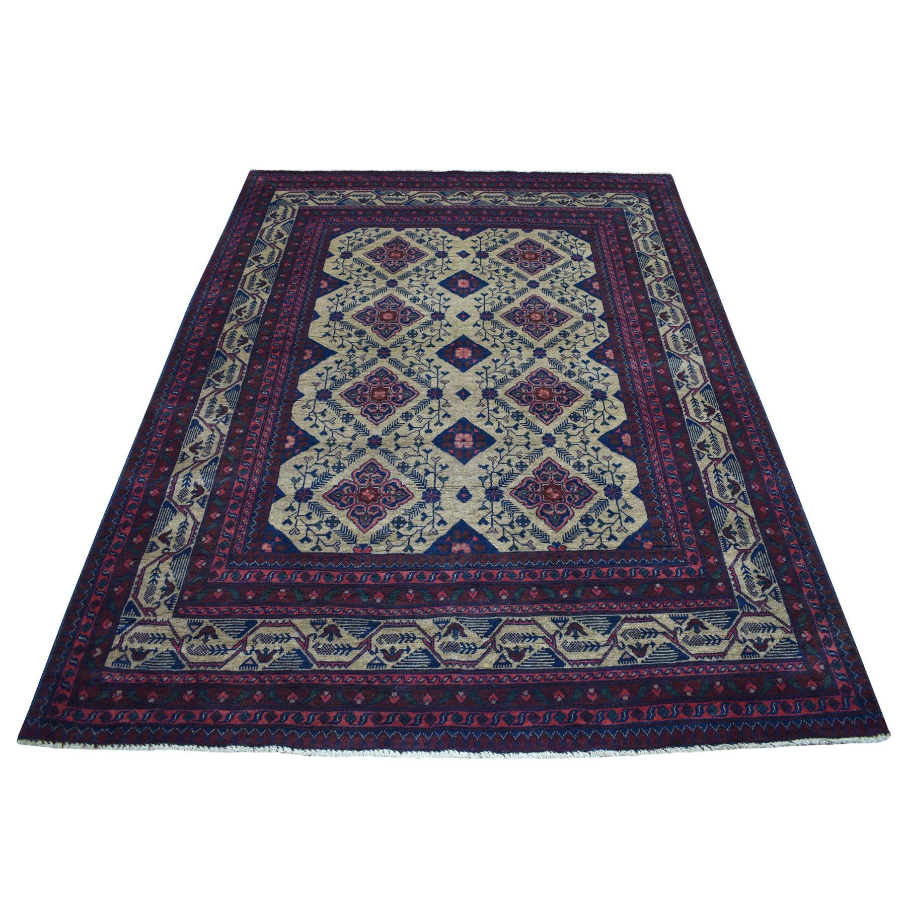 "5'8""X7'7"" Vintage Look Geometric Afghan Andkhoy Pure Wool Hand Knotted Oriental Rug moaecd0b"