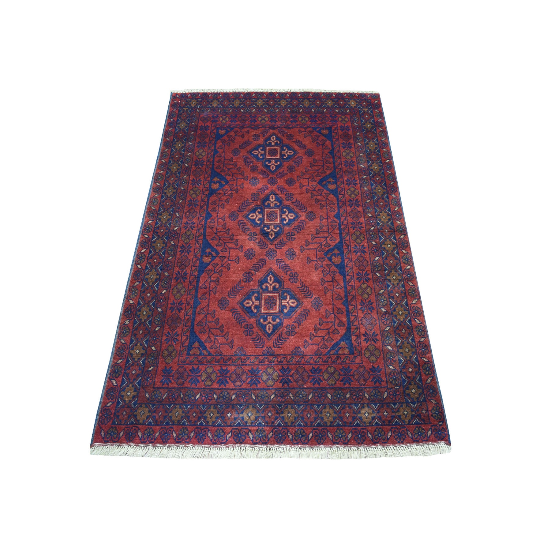 "3'2""X5'1"" Deep And Saturated Red Geometric Afghan Andkhoy Pure Wool Hand Knotted Oriental Rug moaecd0d"
