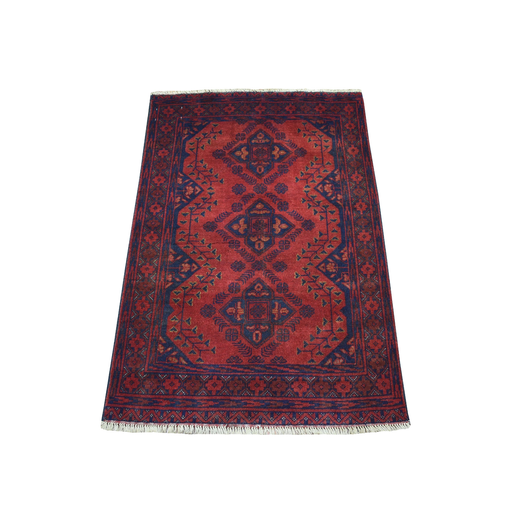 "2'7""X3'7"" Deep And Saturated Red Geometric Afghan Andkhoy Pure Wool Hand Knotted Oriental Rug moaecd0e"