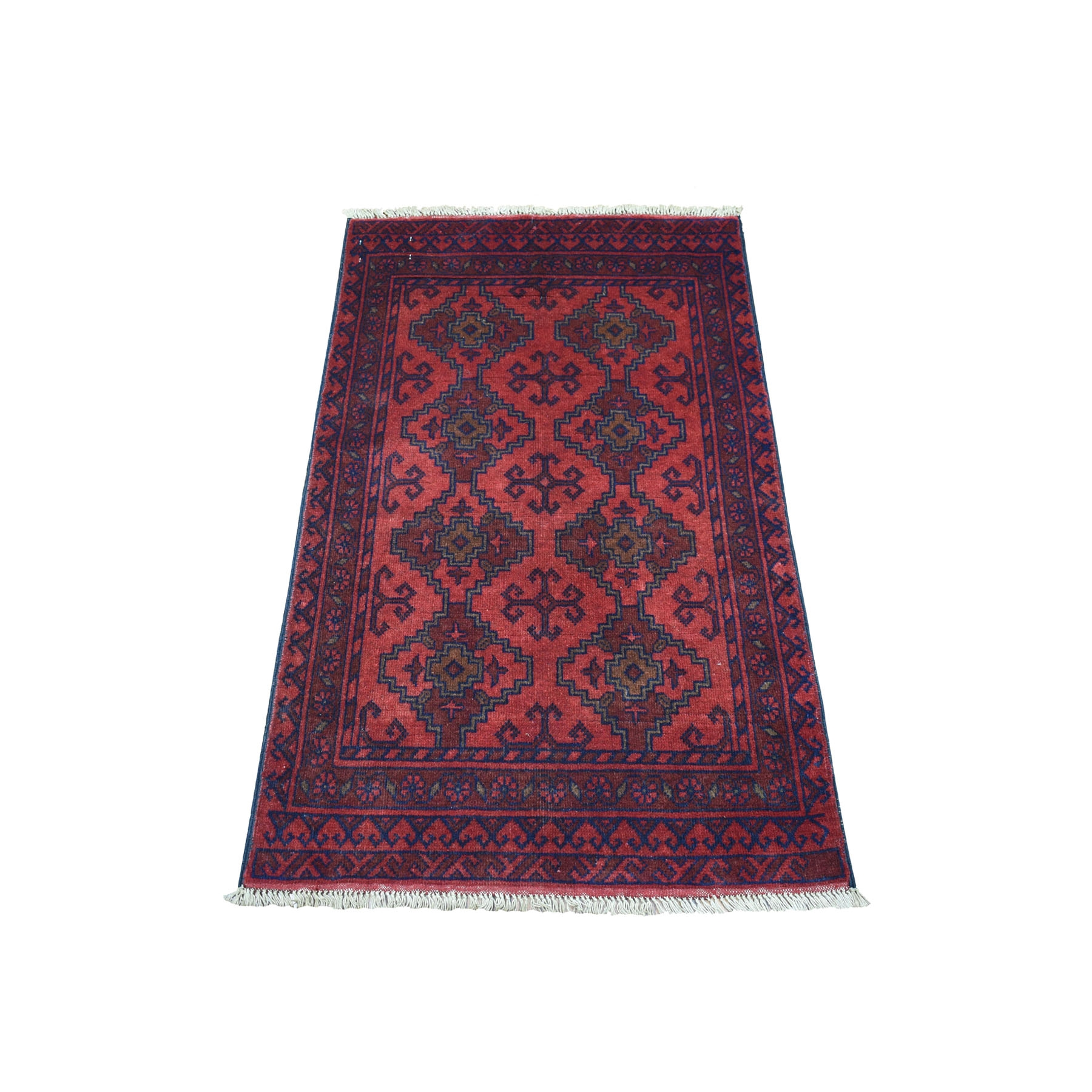 "2'4""X3'10"" Deep And Saturated Red Geometric Afghan Andkhoy Pure Wool Hand Knotted Oriental Rug moaecd07"