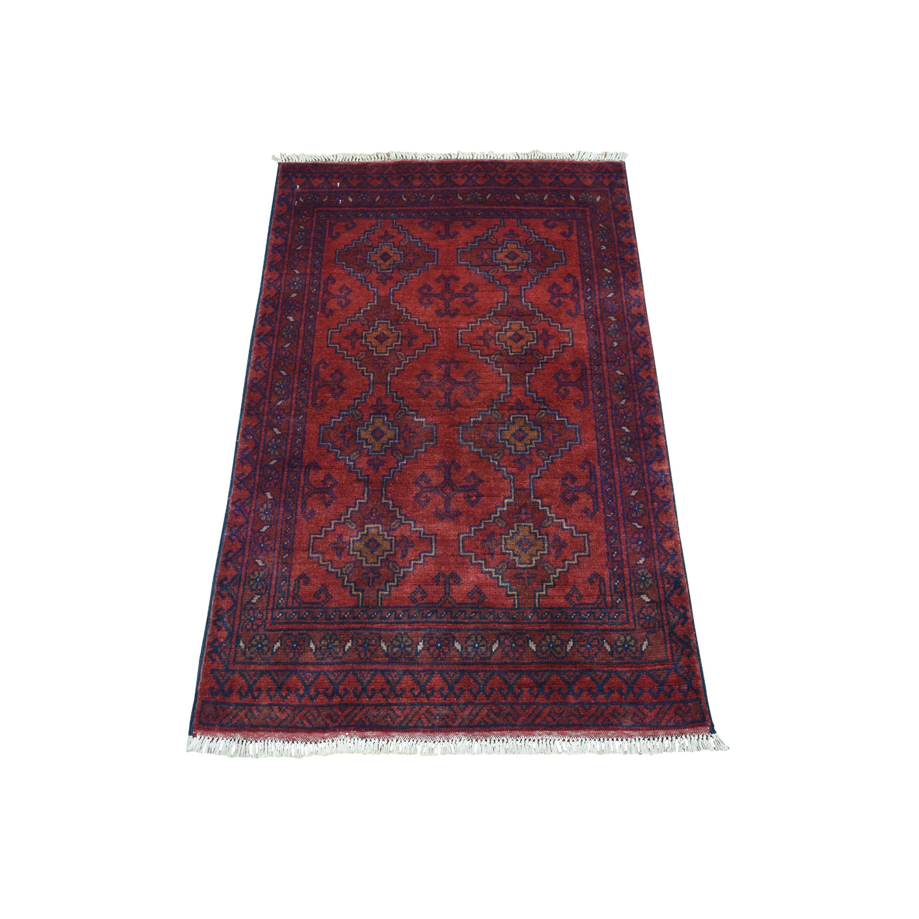 "2'5""X3'10"" Deep And Saturated Red Geometric Afghan Andkhoy Pure Wool Hand Knotted Oriental Rug moaecd08"
