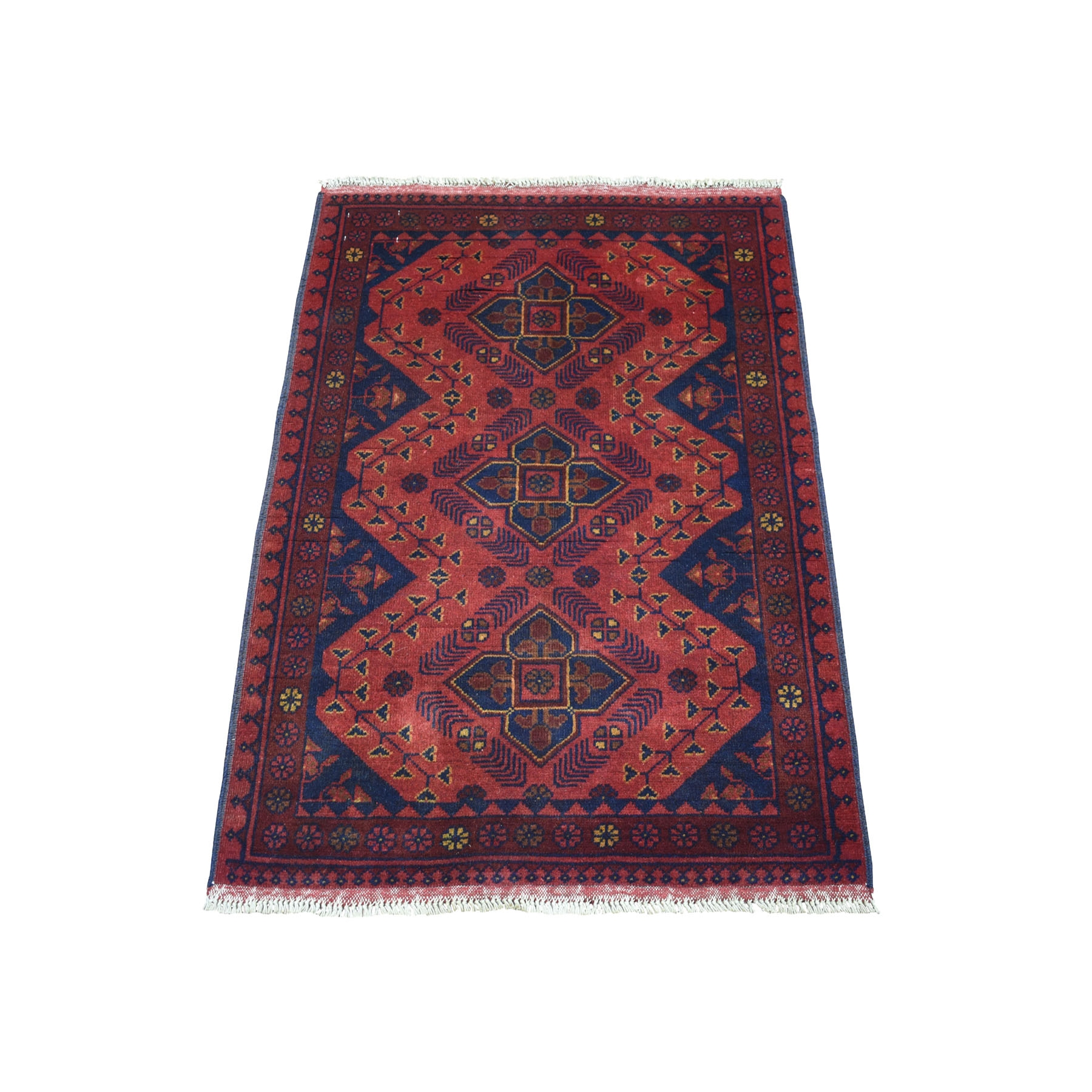 """2'8""""x3'6"""" Deep and Saturated Red Geometric Afghan Andkhoy Pure Wool Hand Knotted Oriental Rug 53417"""
