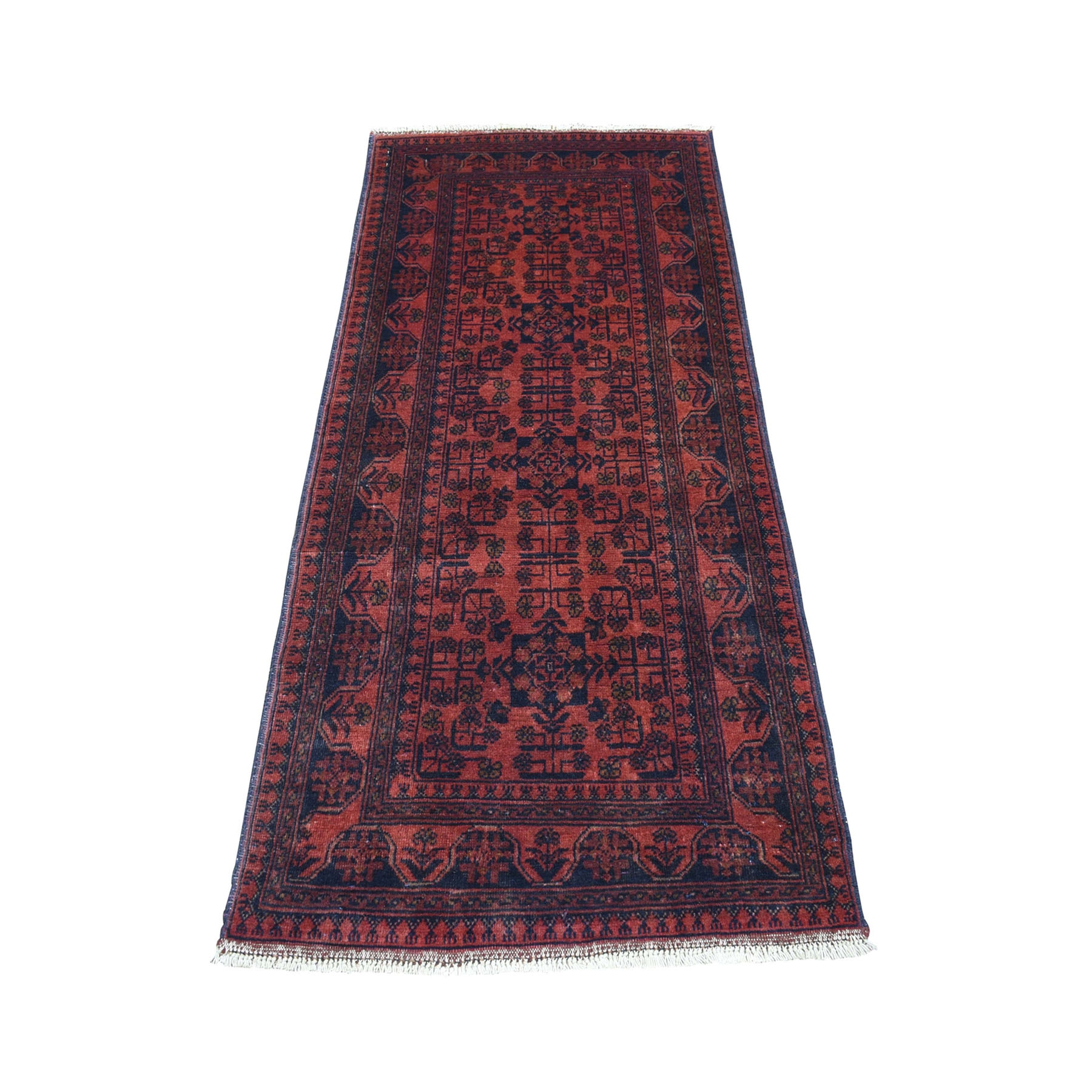 "2'7""X6'1"" Deep And Saturated Red Geometric Afghan Andkhoy Pure Wool Hand Knotted Runner Oriental Rug moaecda9"