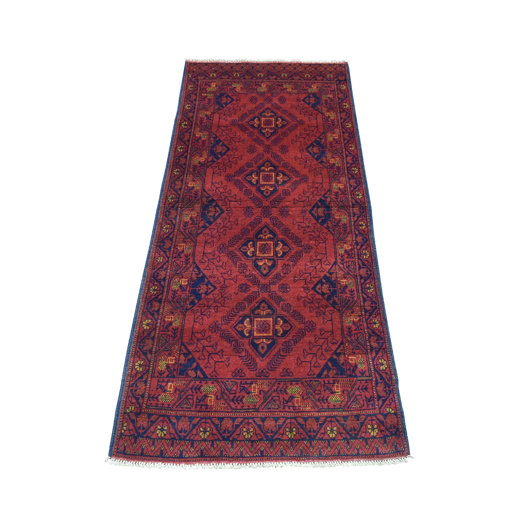 """2'6""""x6'2"""" Deep and Saturated Red Geometric Afghan Andkhoy Pure Wool Hand Knotted Runner Oriental Rug 53421"""