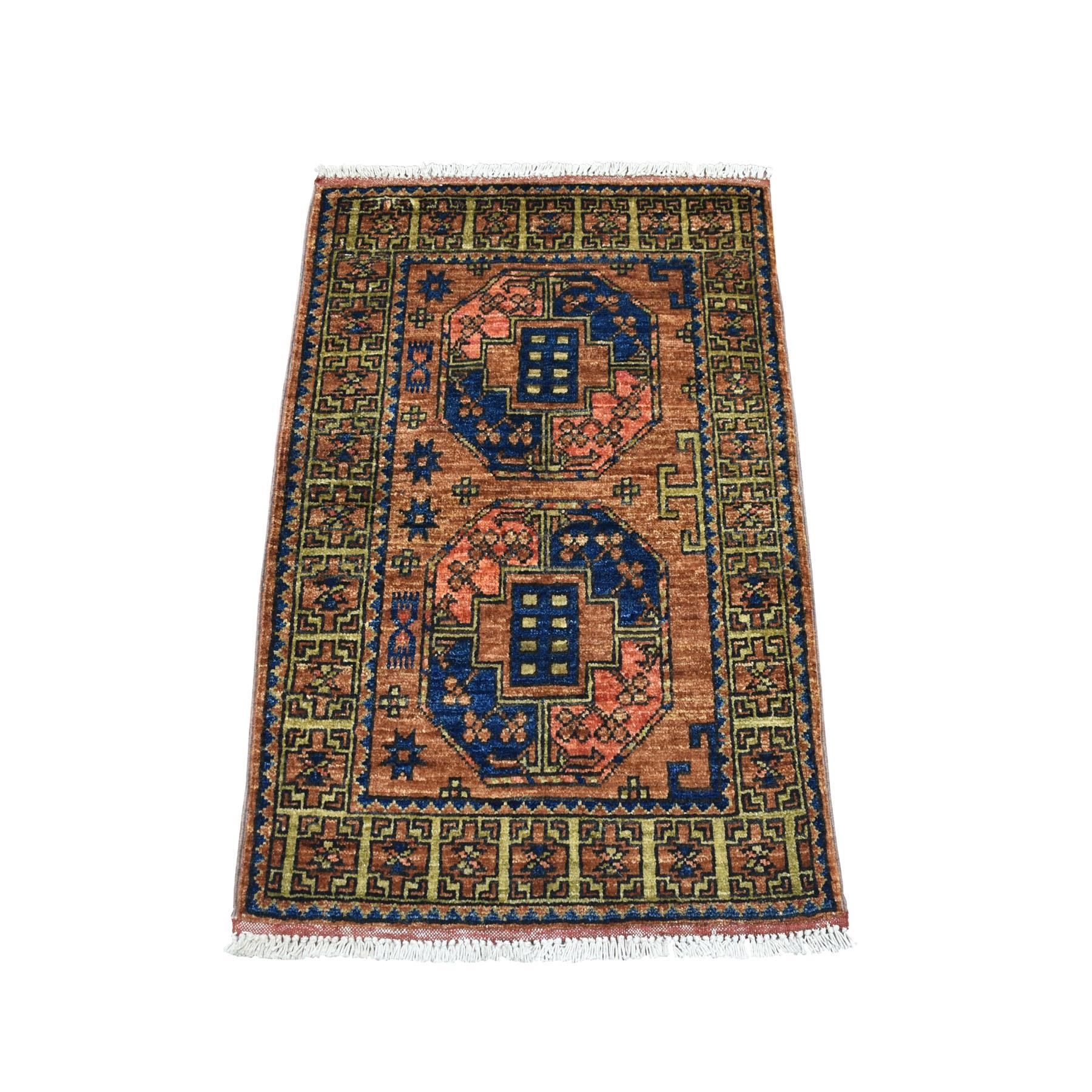 "2'x2'10"" Brown Afghan Ersari Elephant Feet Hand Knotted Pure Wool Oriental Rug 53424"
