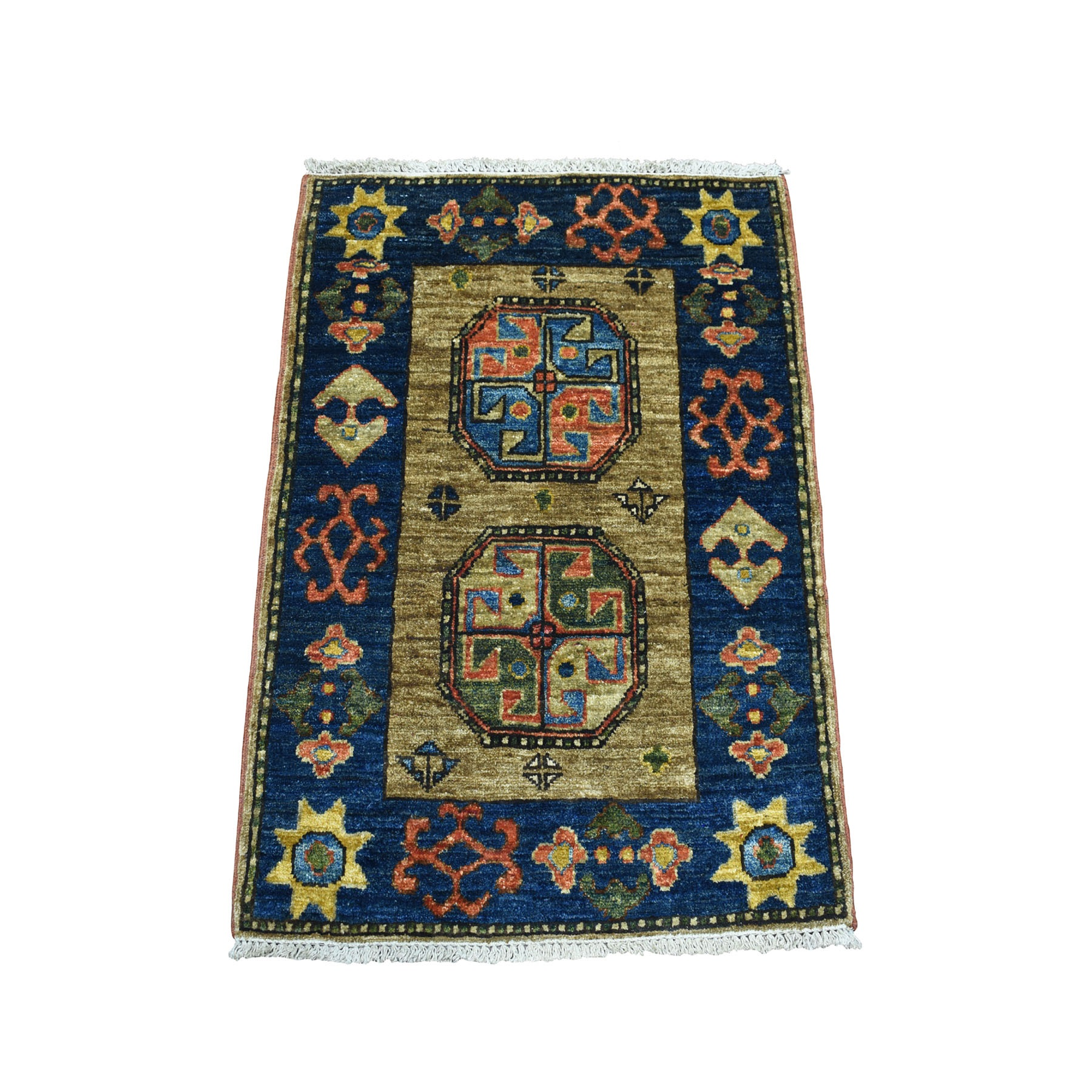 "2'2""x2'10"" Tekke Design Hand Knotted Afghan Ersari Pure Wool Oriental Rug 53426"