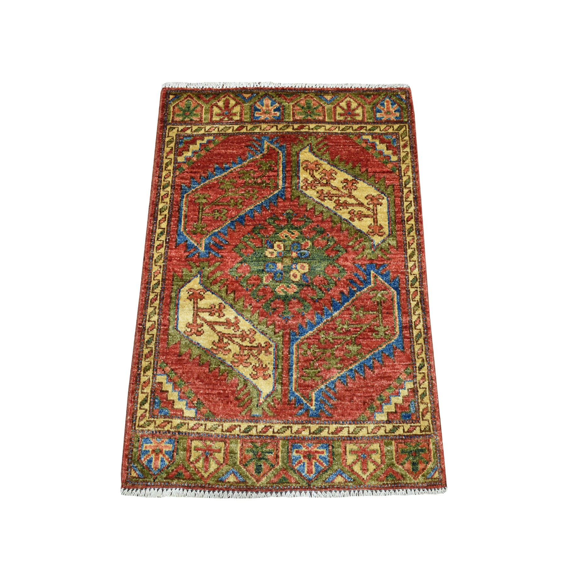 2'x3' Afghan Ersari Tribal Design Pure Wool Hand Knotted Oriental Rug 53430